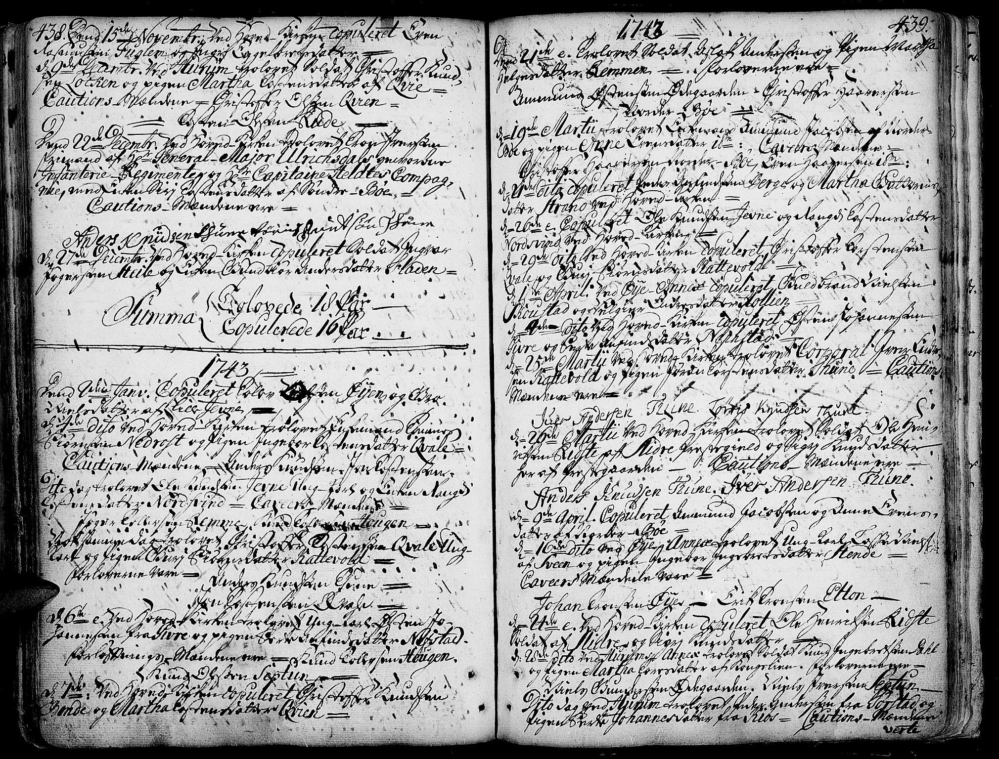 SAH, Vang prestekontor, Valdres, Ministerialbok nr. 1, 1730-1796, s. 438-439