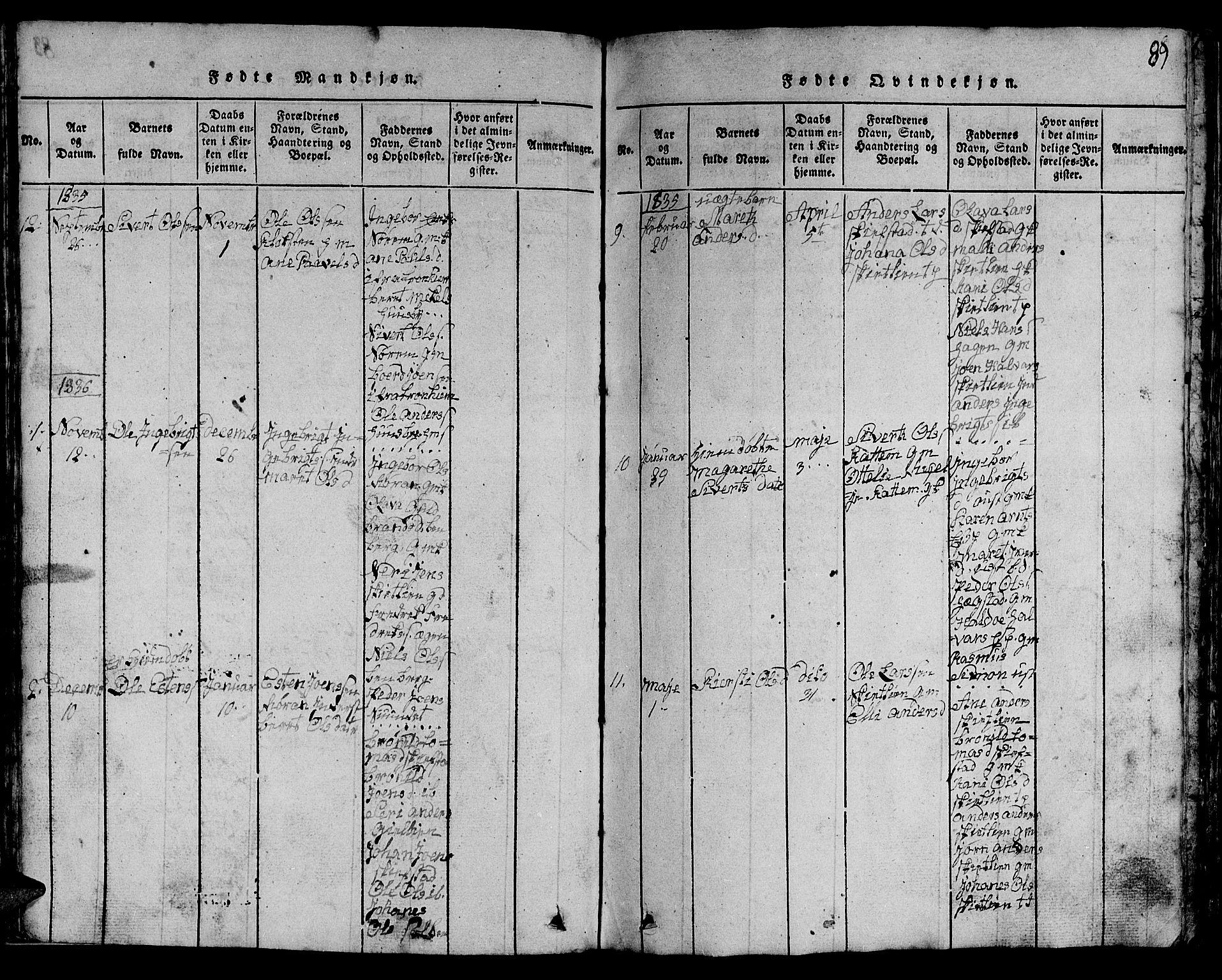 SAT, Ministerialprotokoller, klokkerbøker og fødselsregistre - Sør-Trøndelag, 613/L0393: Klokkerbok nr. 613C01, 1816-1886, s. 89
