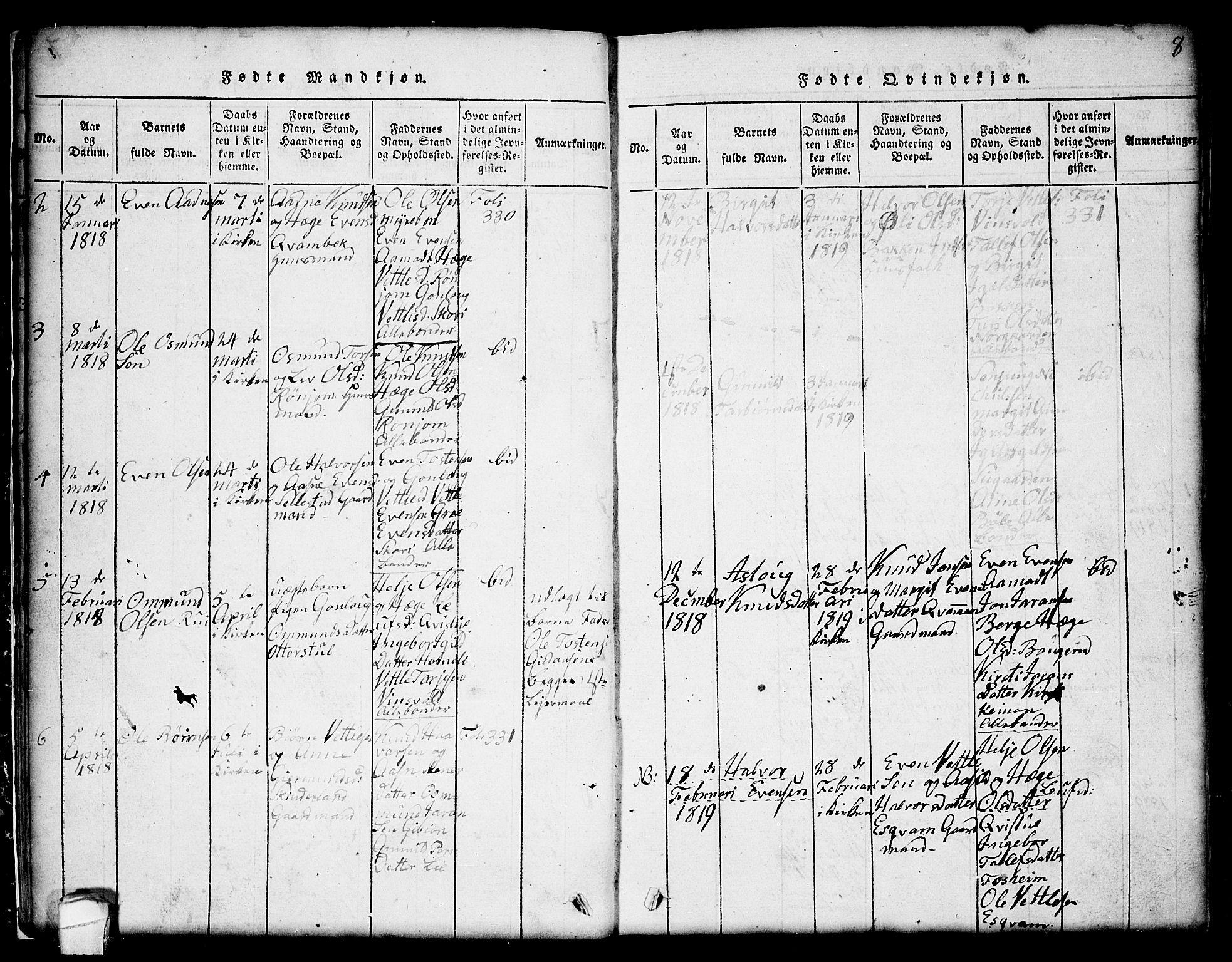 SAKO, Seljord kirkebøker, G/Gc/L0001: Klokkerbok nr. III 1, 1815-1849, s. 8