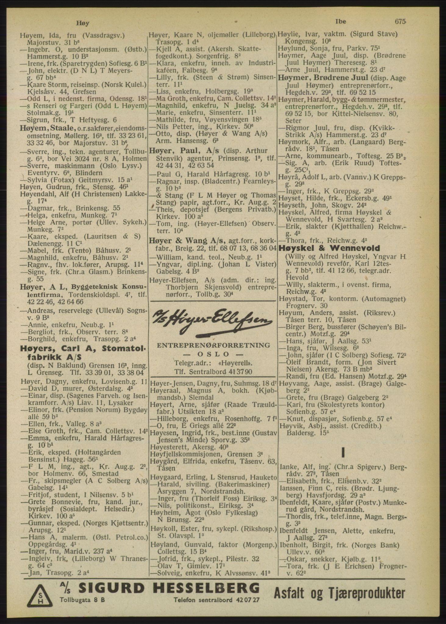 PUBL, Kristiania/Oslo adressebok, 1950, s. 675