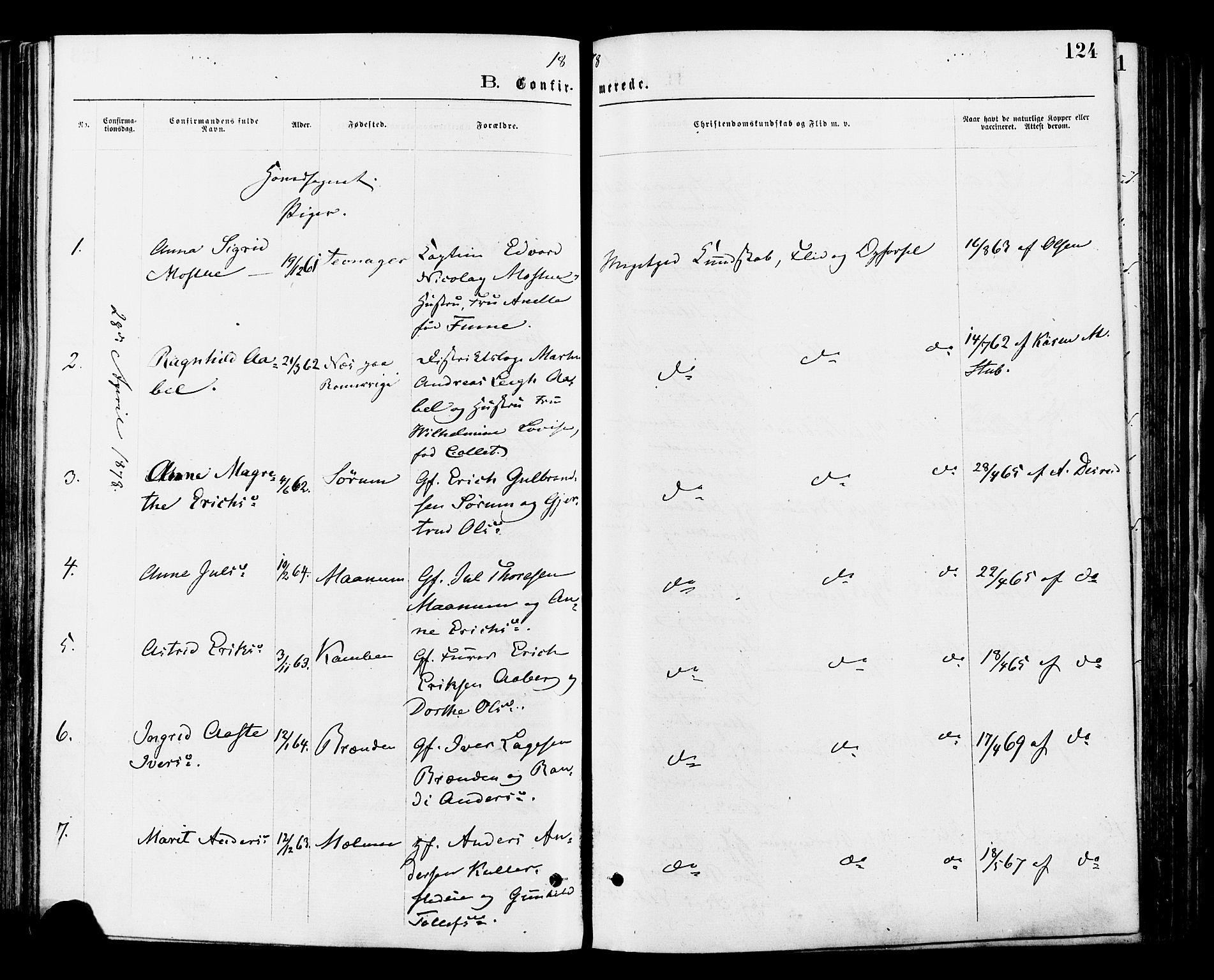 SAH, Nord-Aurdal prestekontor, Ministerialbok nr. 9, 1876-1882, s. 124