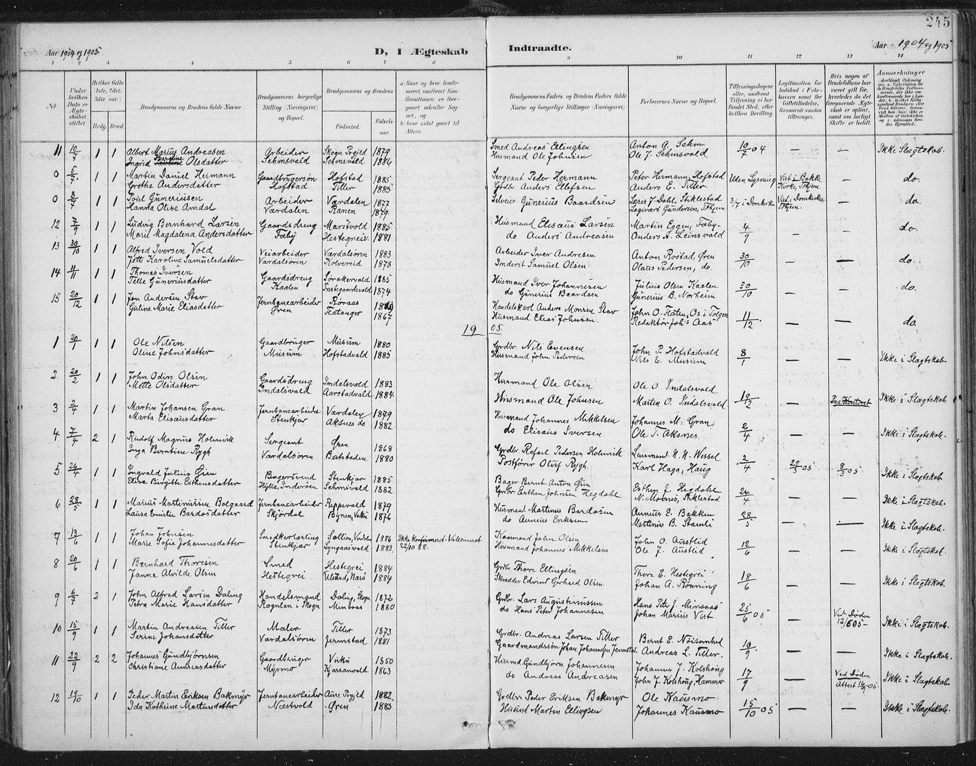 SAT, Ministerialprotokoller, klokkerbøker og fødselsregistre - Nord-Trøndelag, 723/L0246: Ministerialbok nr. 723A15, 1900-1917, s. 245