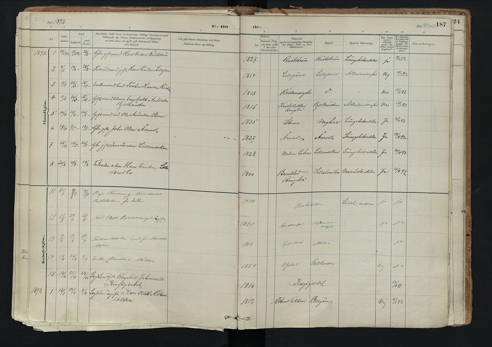 SAH, Nord-Fron prestekontor, Ministerialbok nr. 3, 1884-1914, s. 187