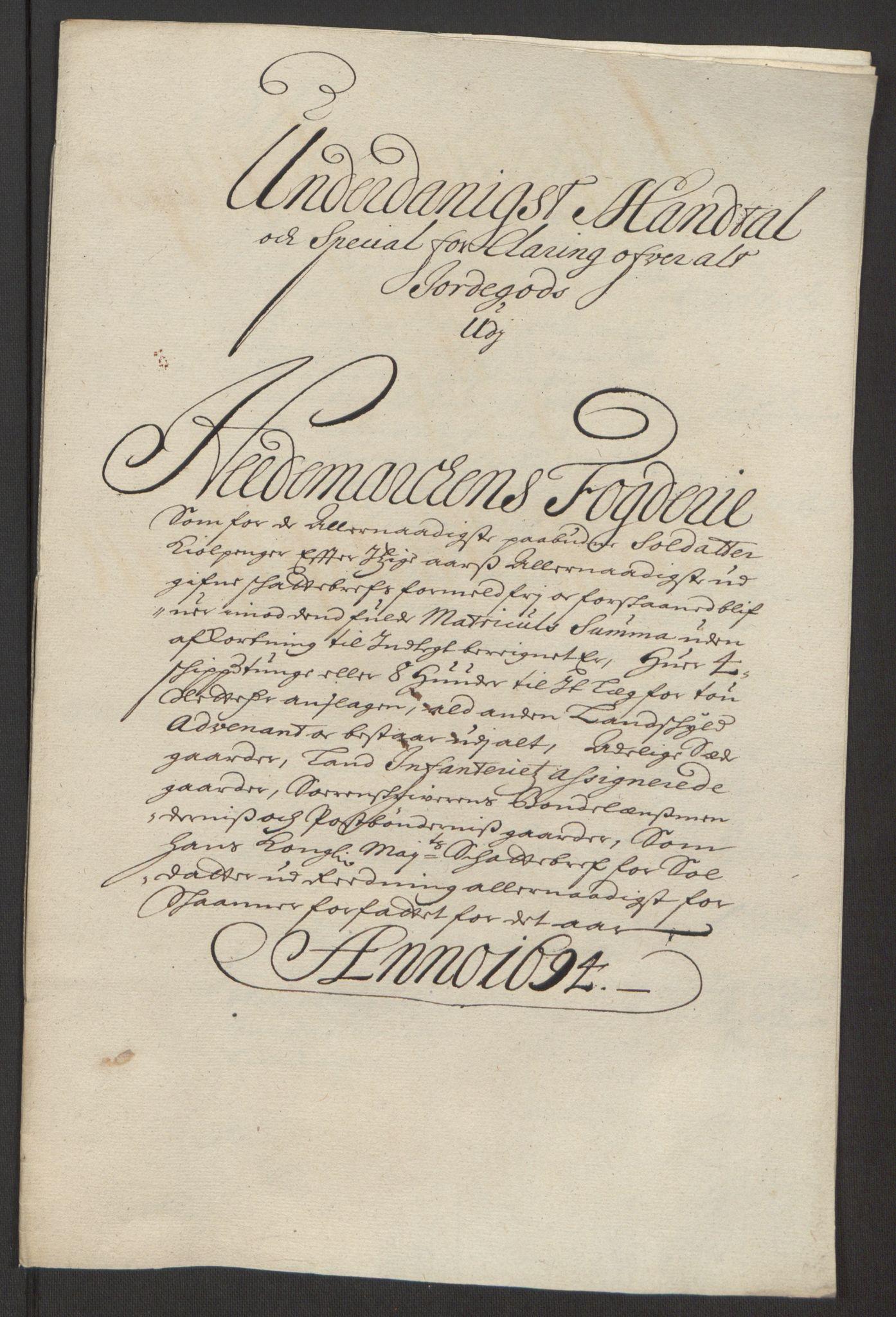 RA, Rentekammeret inntil 1814, Reviderte regnskaper, Fogderegnskap, R16/L1035: Fogderegnskap Hedmark, 1694, s. 191
