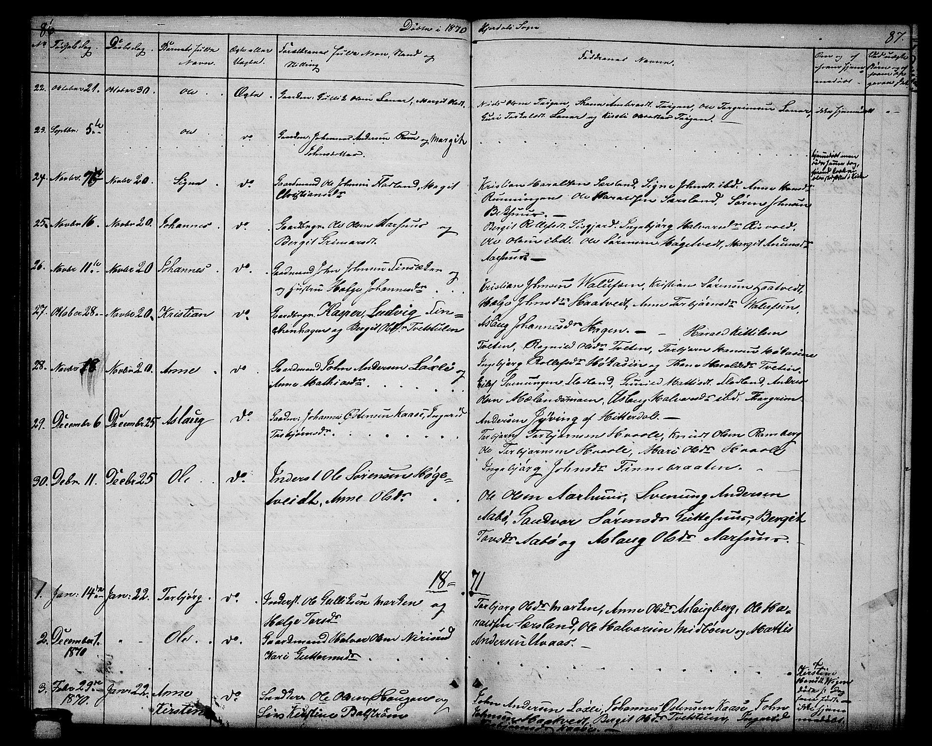 SAKO, Hjartdal kirkebøker, G/Ga/L0002: Klokkerbok nr. I 2, 1854-1888, s. 86-87