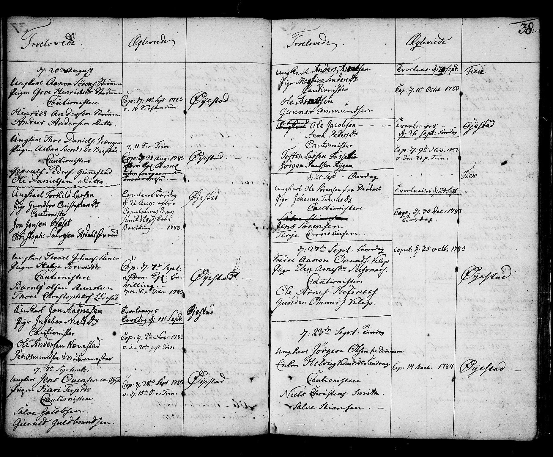 SAK, Øyestad sokneprestkontor, F/Fa/L0009: Ministerialbok nr. A 9, 1778-1808, s. 38
