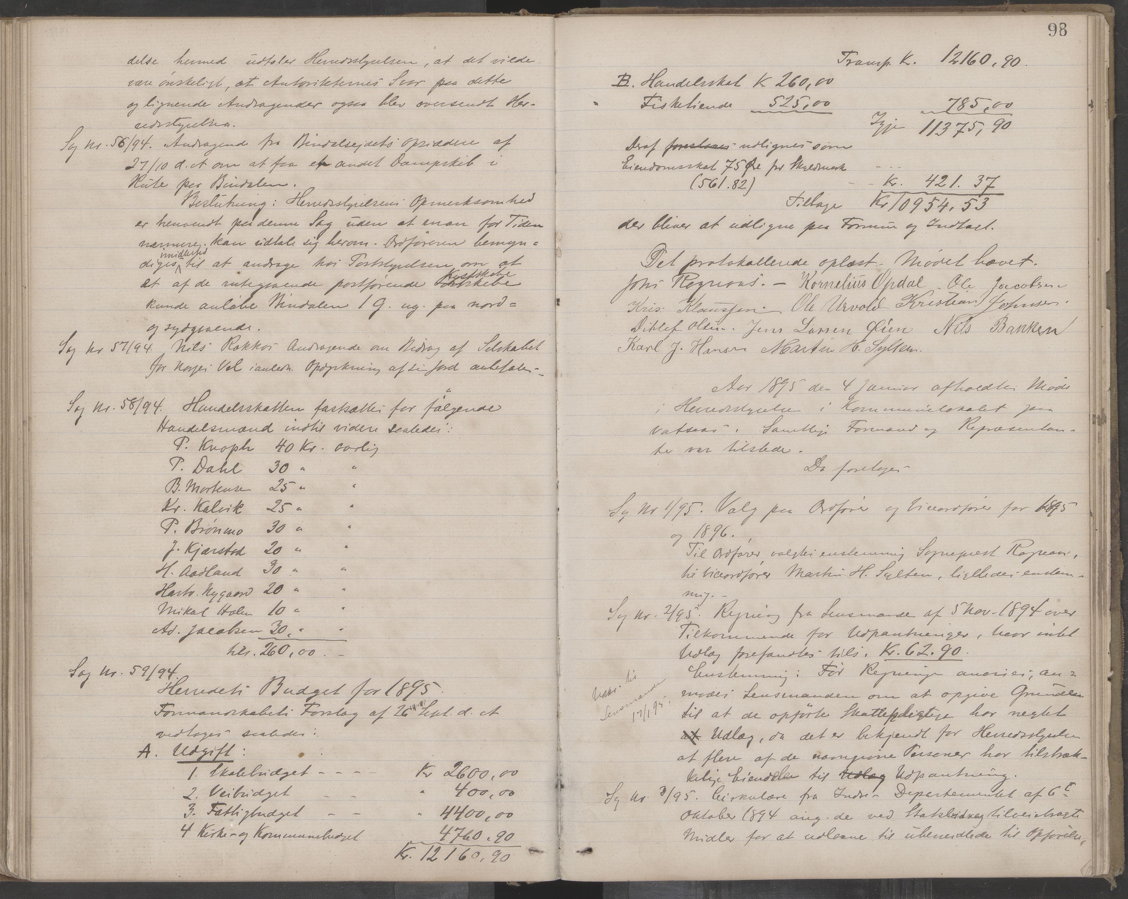 AIN, Bindal kommune. Formannskapet, A/Aa/L0000c: Møtebok, 1885-1897, s. 98