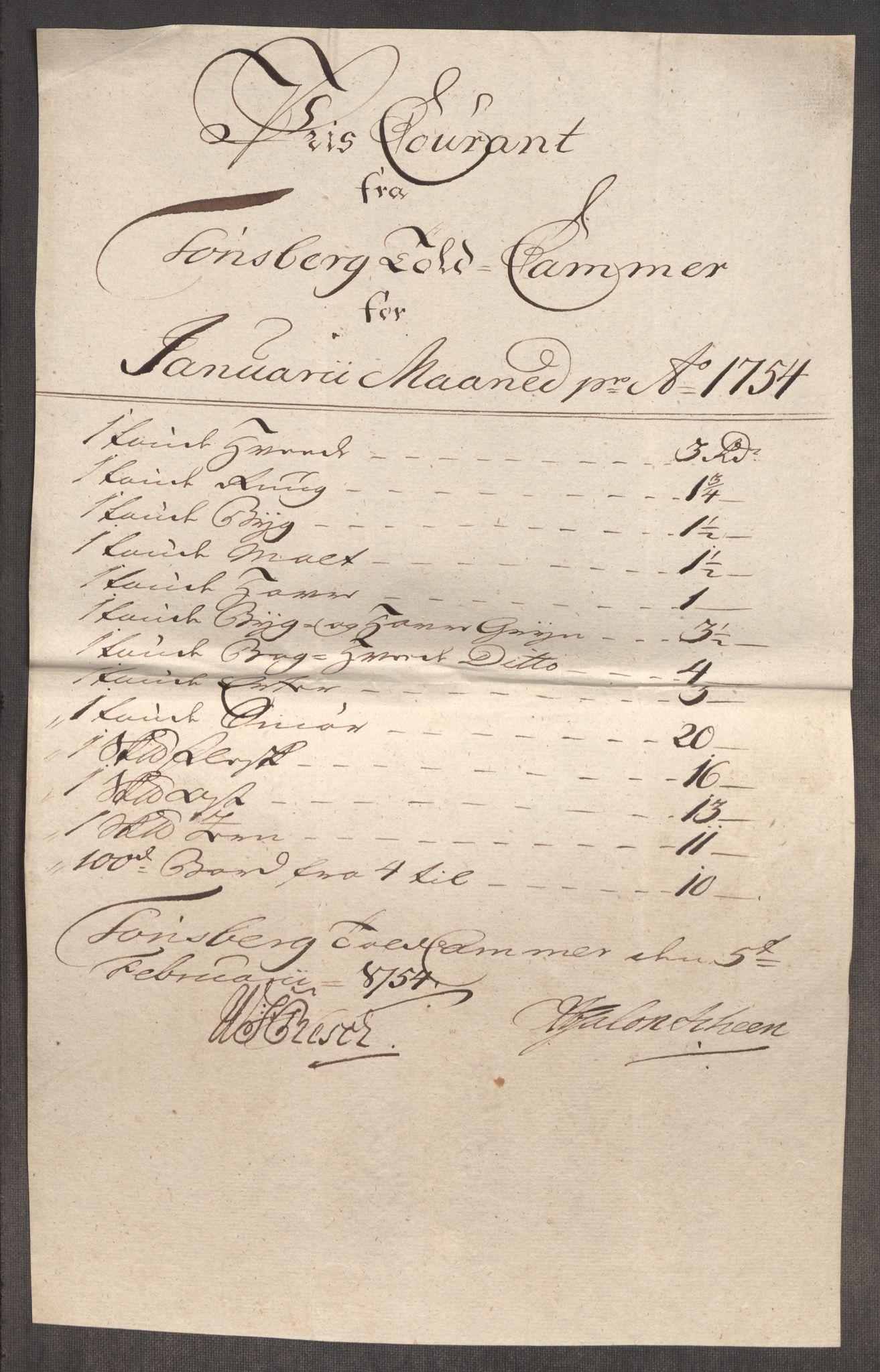 RA, Rentekammeret inntil 1814, Realistisk ordnet avdeling, Oe/L0005: [Ø1]: Priskuranter, 1753-1757, s. 247