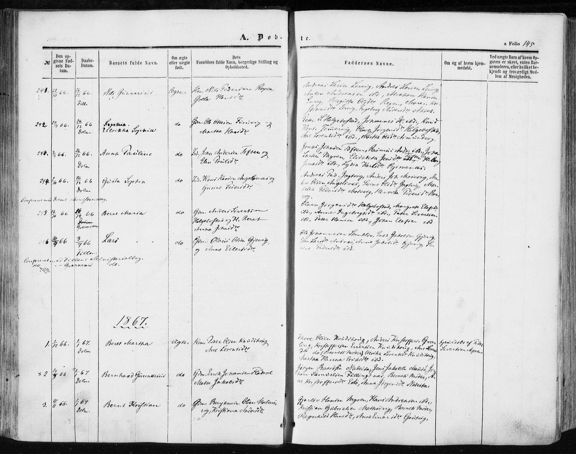 SAT, Ministerialprotokoller, klokkerbøker og fødselsregistre - Sør-Trøndelag, 634/L0531: Ministerialbok nr. 634A07, 1861-1870, s. 145