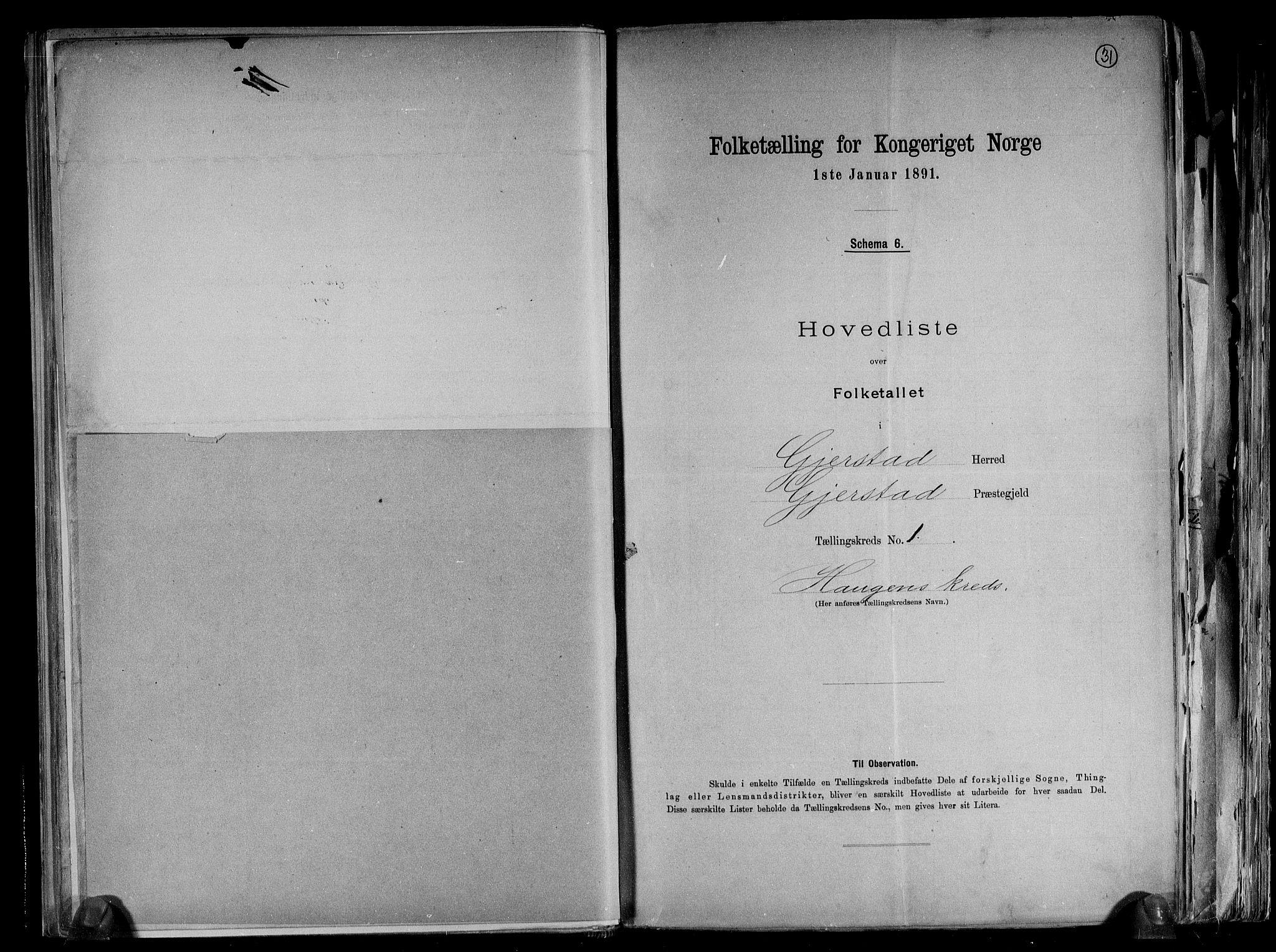 RA, Folketelling 1891 for 0911 Gjerstad herred, 1891, s. 5