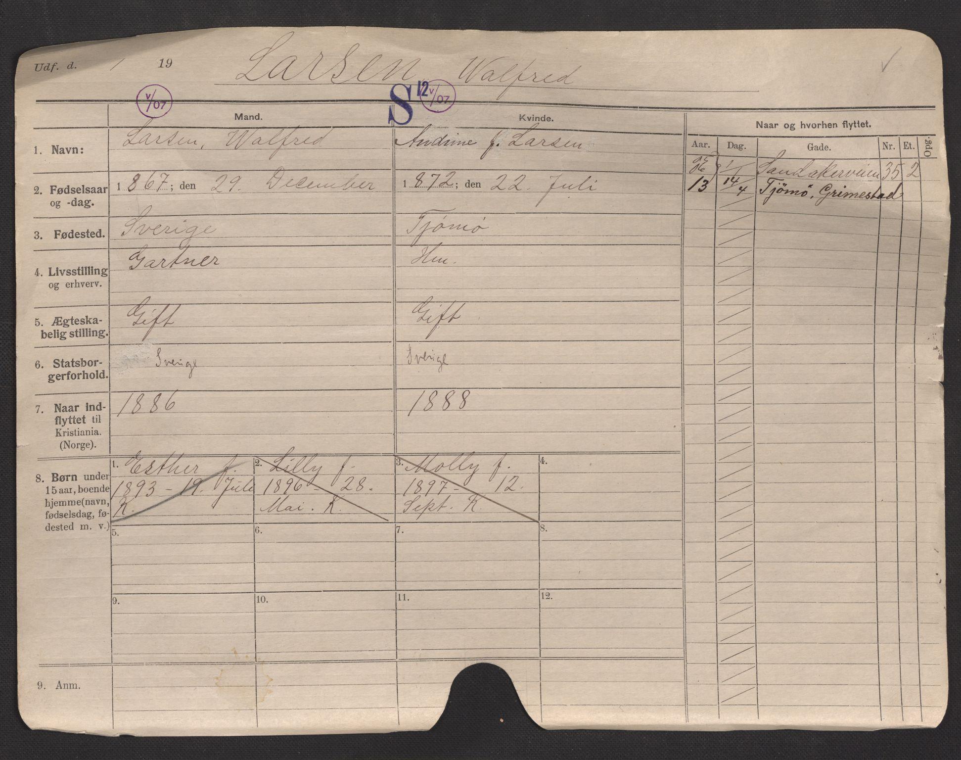 SAO, Oslo folkeregister, Registerkort, F/Fa/Fac/L0007: Menn, 1906-1914, s. 1a