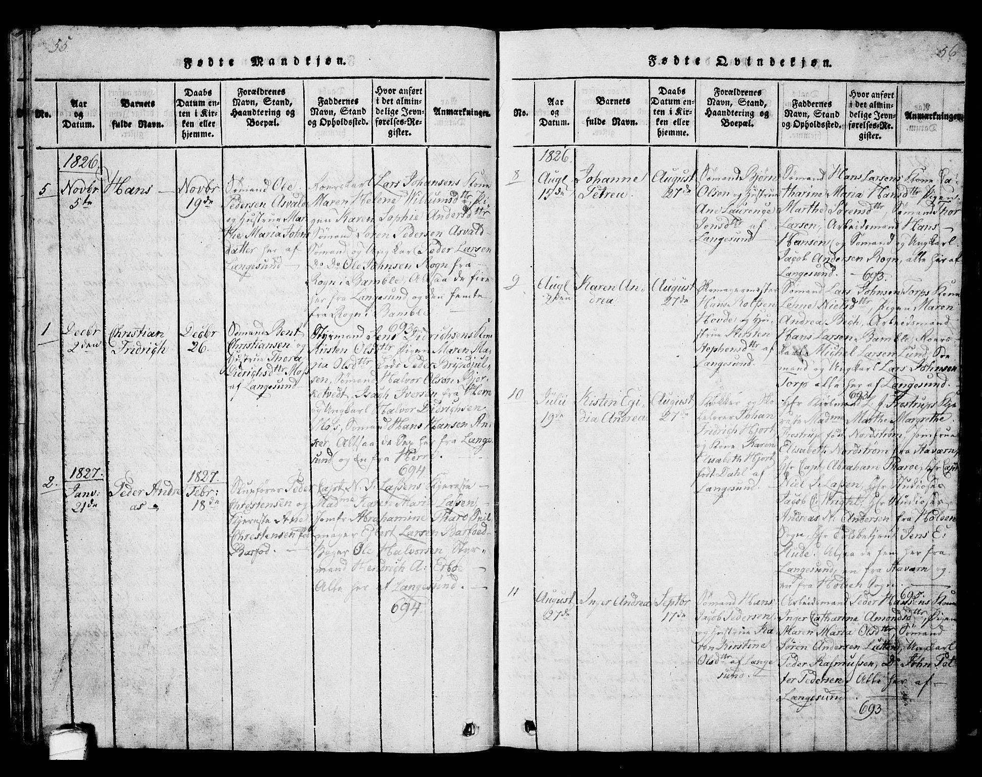 SAKO, Langesund kirkebøker, G/Ga/L0003: Klokkerbok nr. 3, 1815-1858, s. 55-56