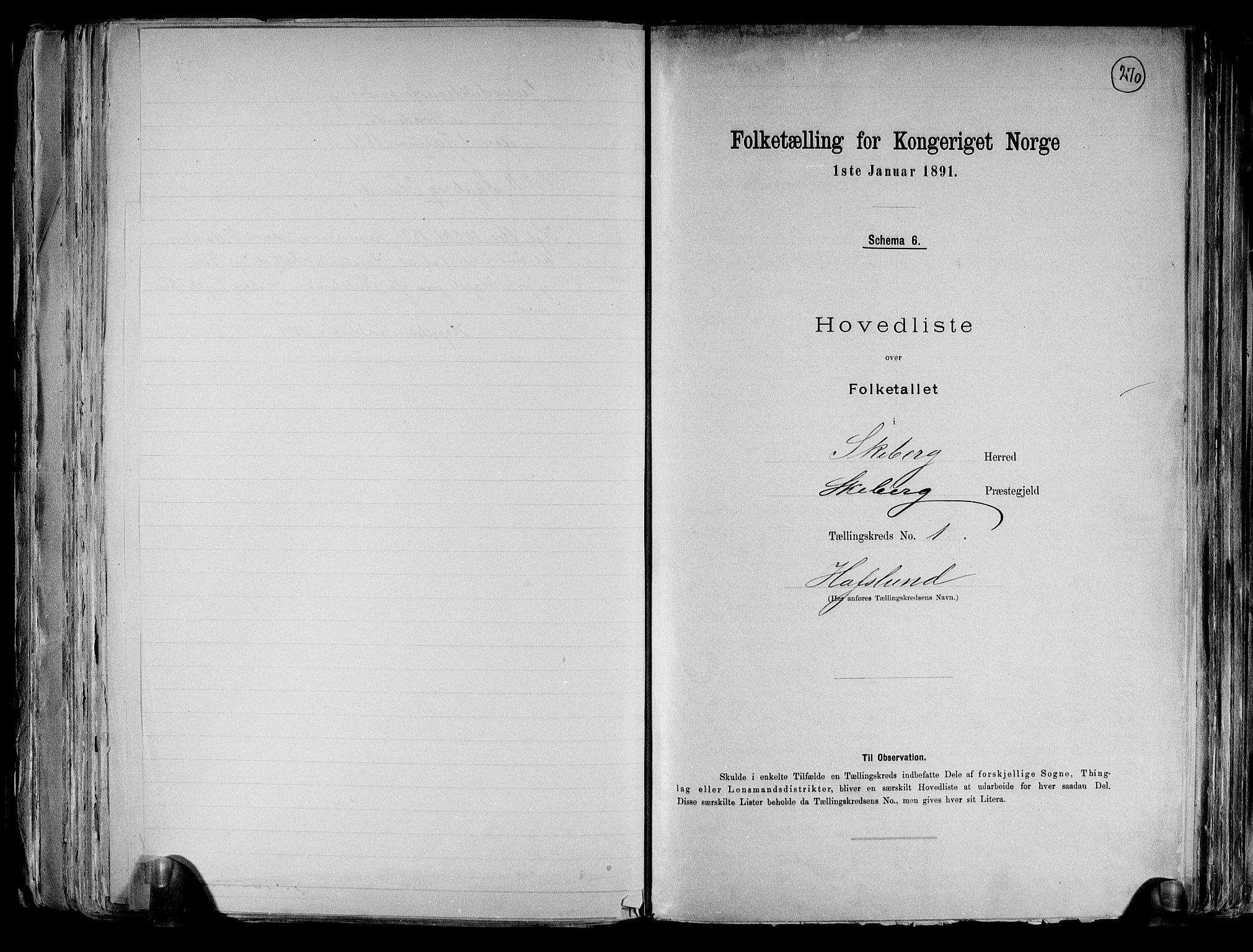 RA, Folketelling 1891 for 0115 Skjeberg herred, 1891, s. 6