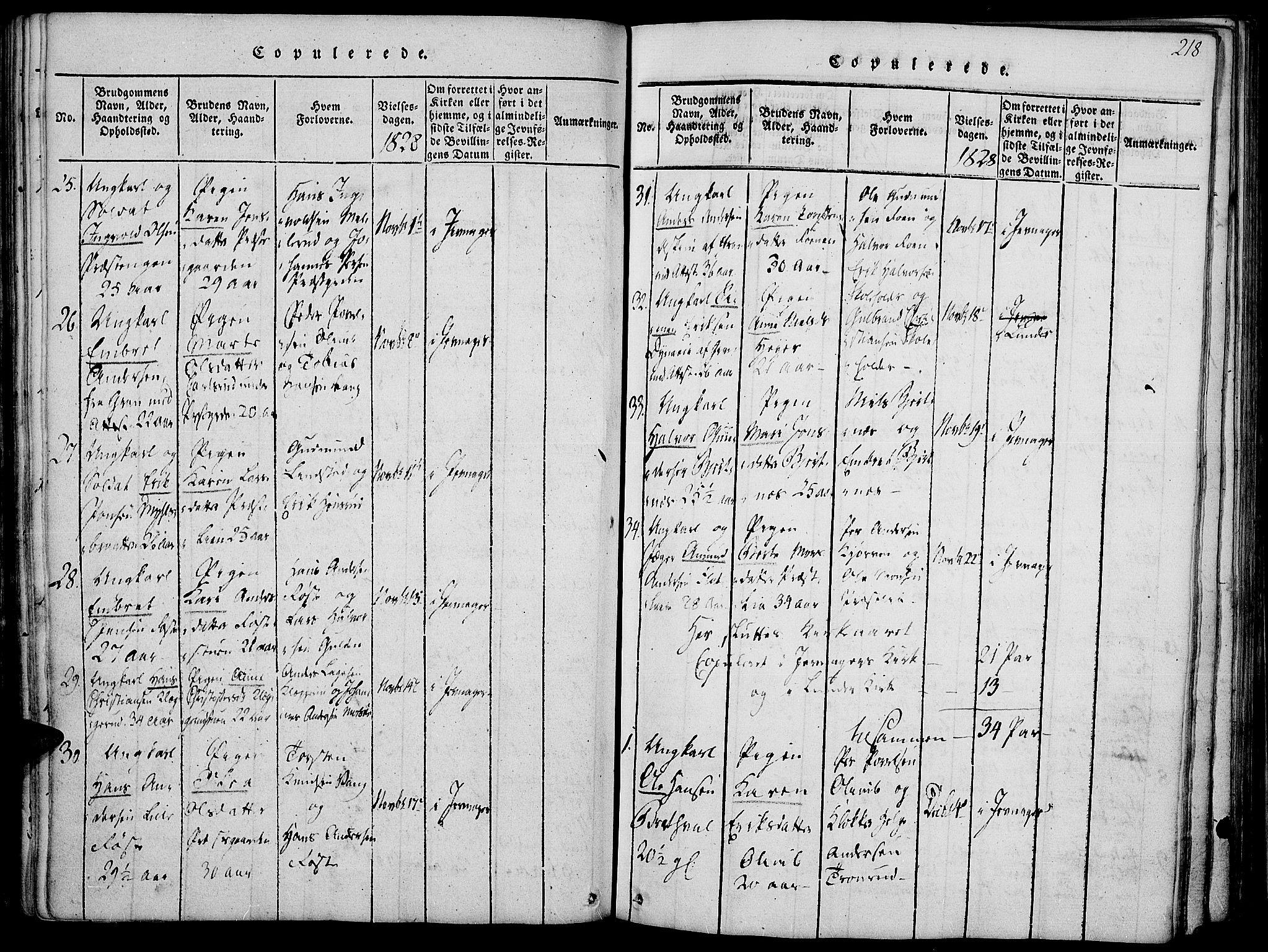 SAH, Jevnaker prestekontor, Ministerialbok nr. 5, 1815-1837, s. 218