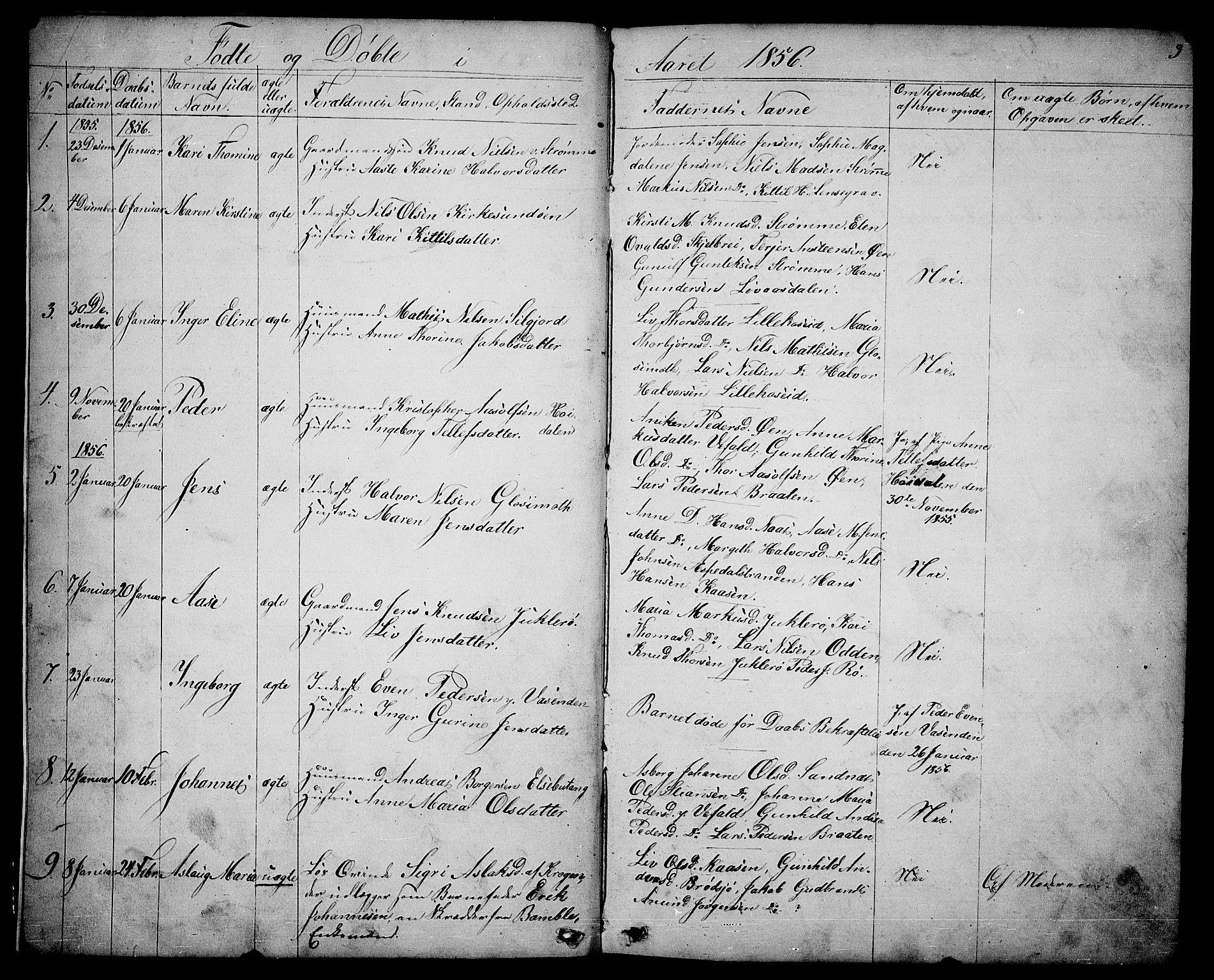 SAKO, Drangedal kirkebøker, G/Ga/L0002: Klokkerbok nr. I 2, 1856-1887, s. 3