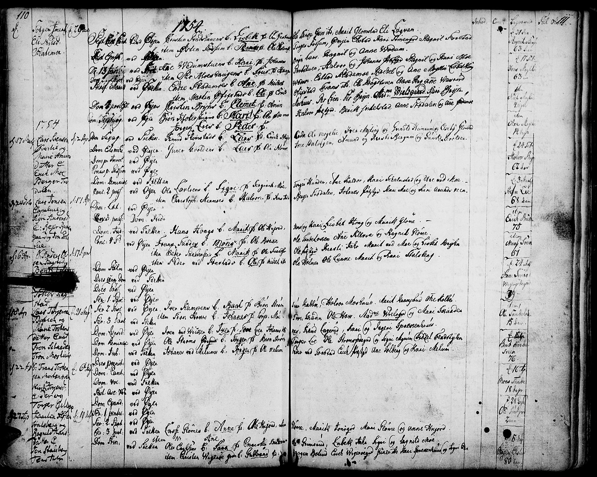SAH, Øyer prestekontor, Ministerialbok nr. 2, 1733-1784, s. 110-111