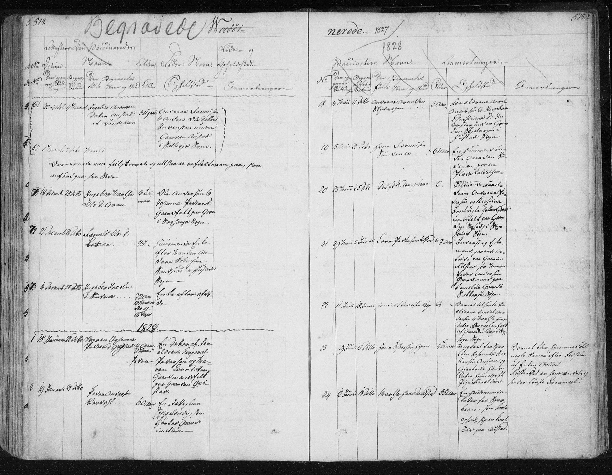 SAT, Ministerialprotokoller, klokkerbøker og fødselsregistre - Nord-Trøndelag, 730/L0276: Ministerialbok nr. 730A05, 1822-1830, s. 514-515