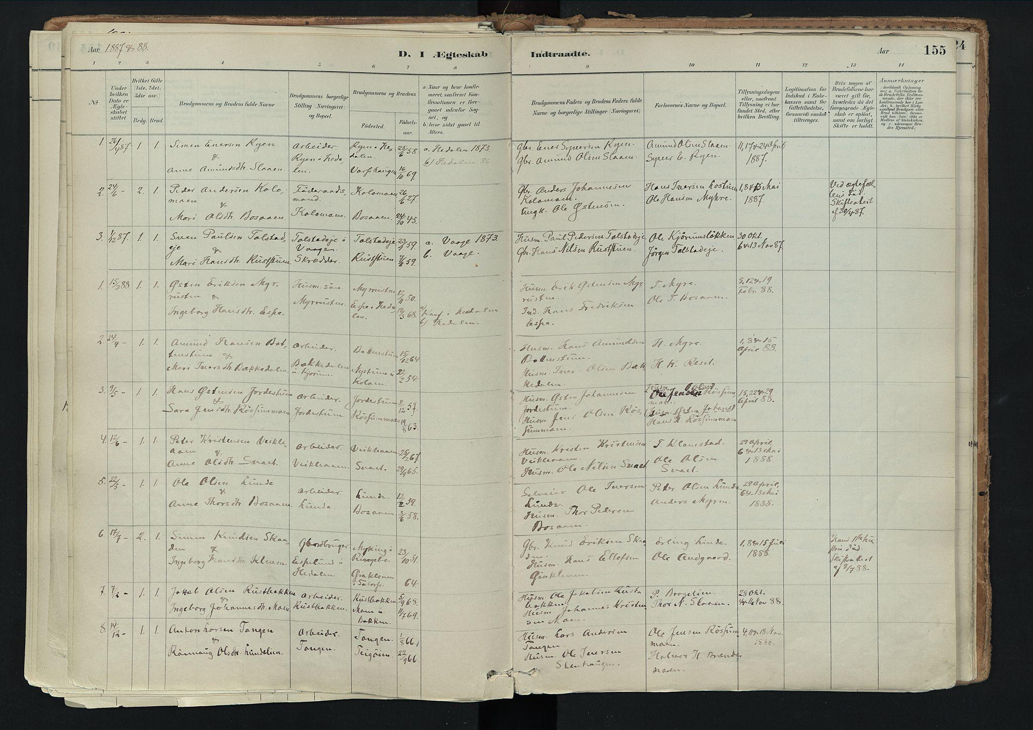 SAH, Nord-Fron prestekontor, Ministerialbok nr. 3, 1884-1914, s. 155