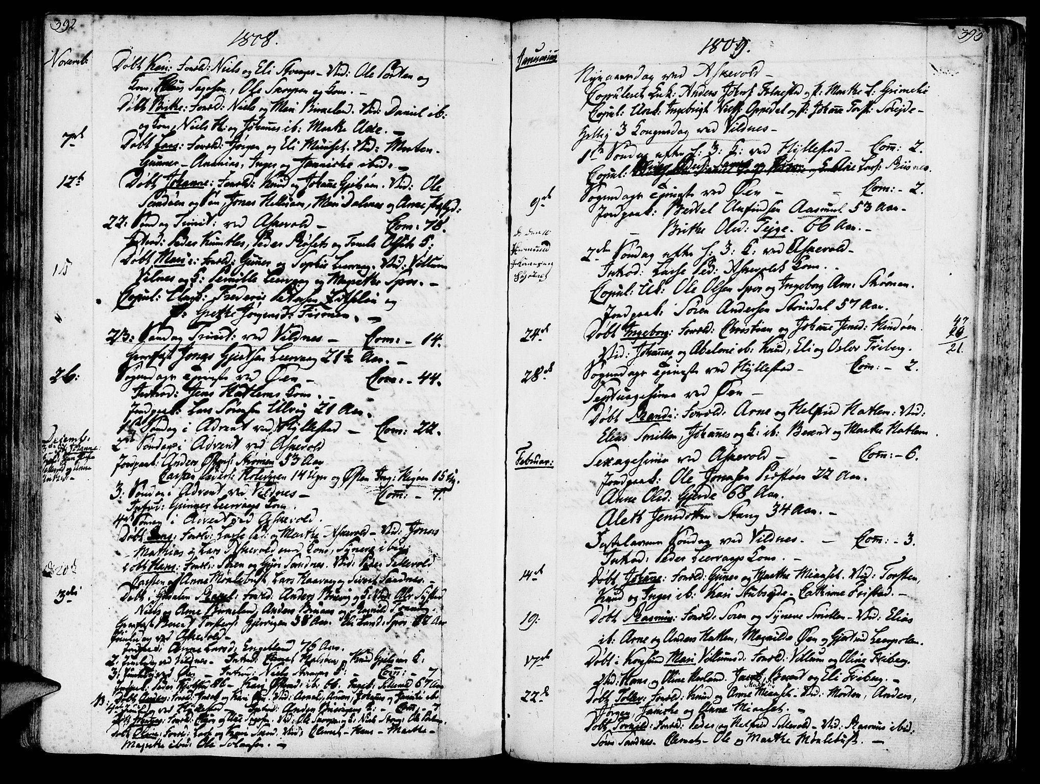 SAB, Askvoll sokneprestembete, H/Haa/Haaa/L0009: Ministerialbok nr. A 9, 1776-1821, s. 392-393