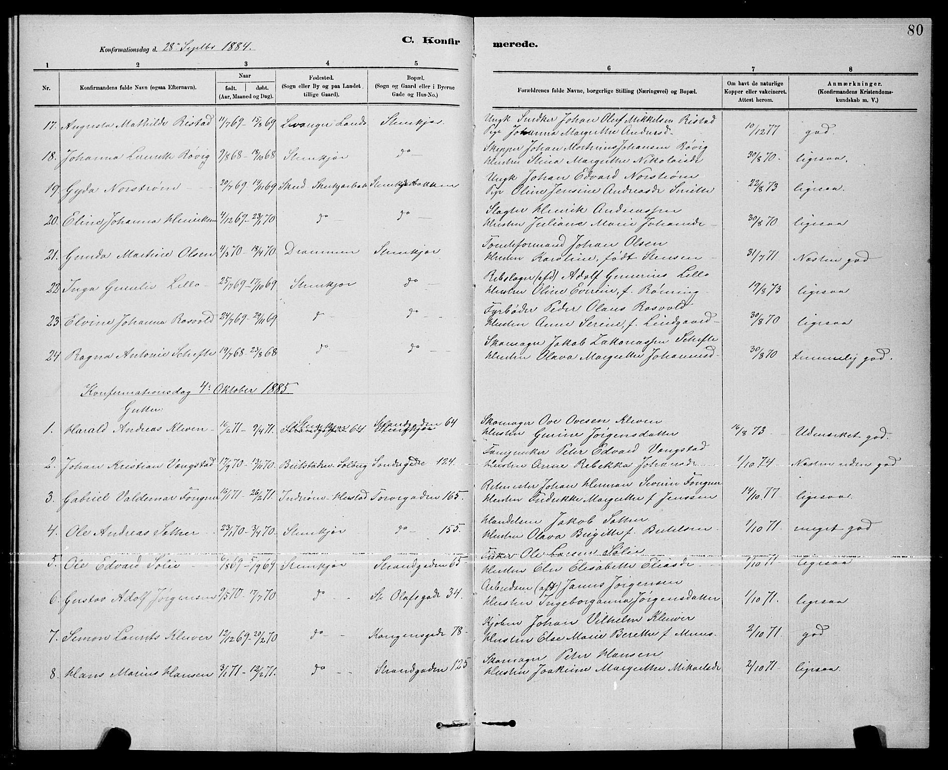 SAT, Ministerialprotokoller, klokkerbøker og fødselsregistre - Nord-Trøndelag, 739/L0374: Klokkerbok nr. 739C02, 1883-1898, s. 80