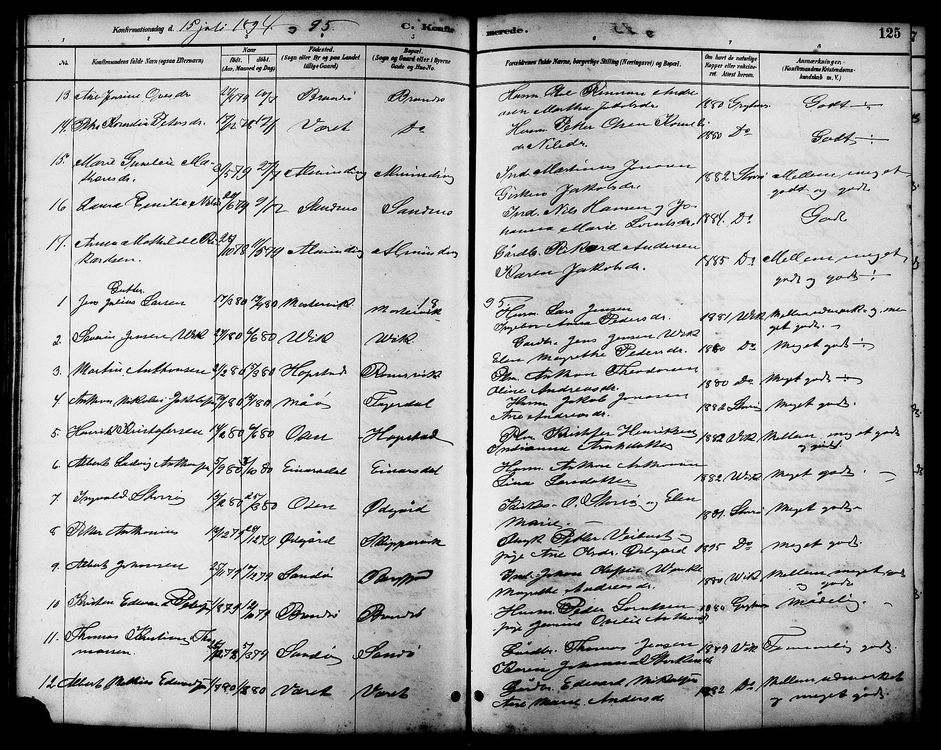 SAT, Ministerialprotokoller, klokkerbøker og fødselsregistre - Sør-Trøndelag, 657/L0716: Klokkerbok nr. 657C03, 1889-1904, s. 125