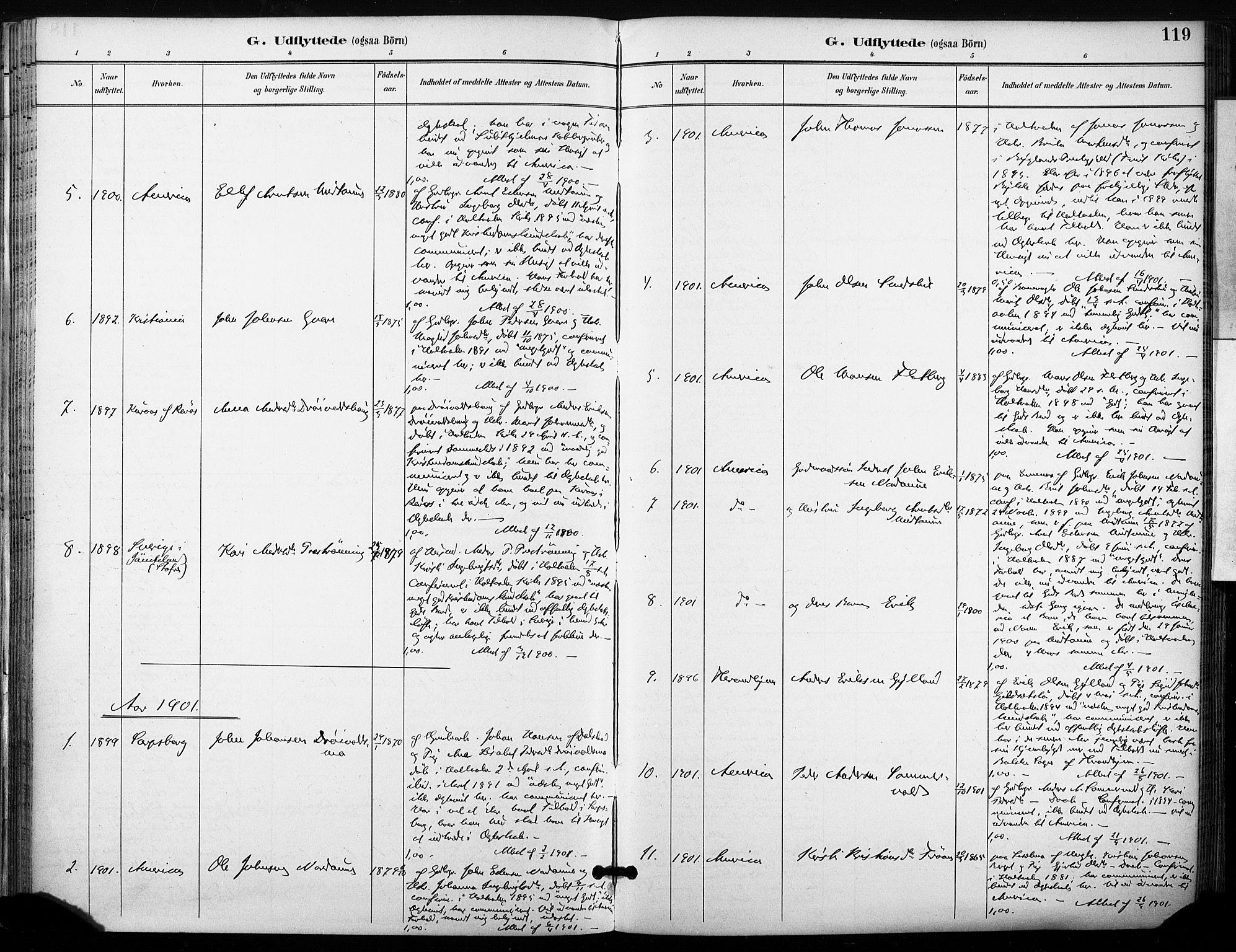 SAT, Ministerialprotokoller, klokkerbøker og fødselsregistre - Sør-Trøndelag, 685/L0973: Ministerialbok nr. 685A10, 1891-1907, s. 119
