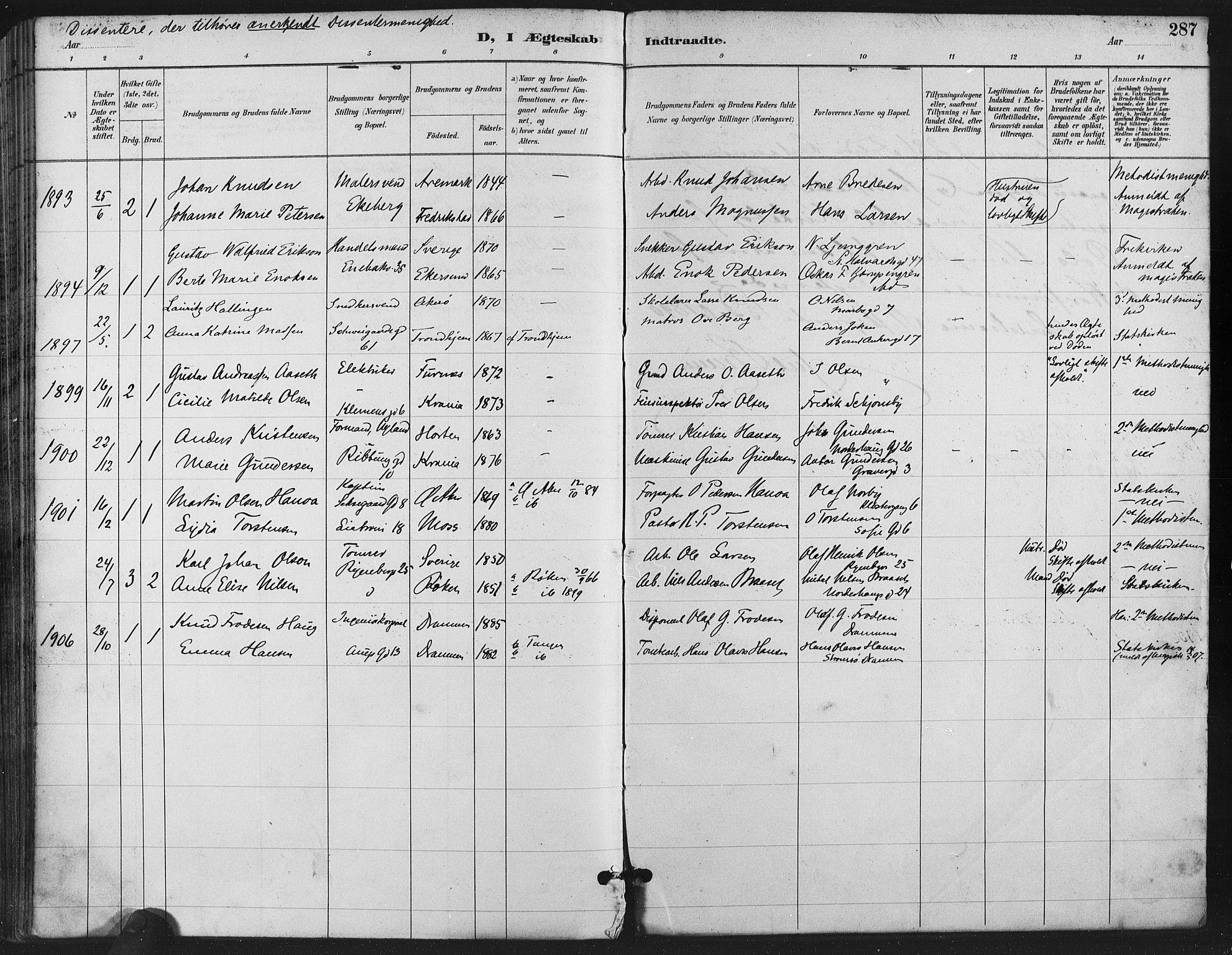 SAO, Gamlebyen prestekontor Kirkebøker, F/Fa/L0008: Ministerialbok nr. 8, 1891-1908, s. 287