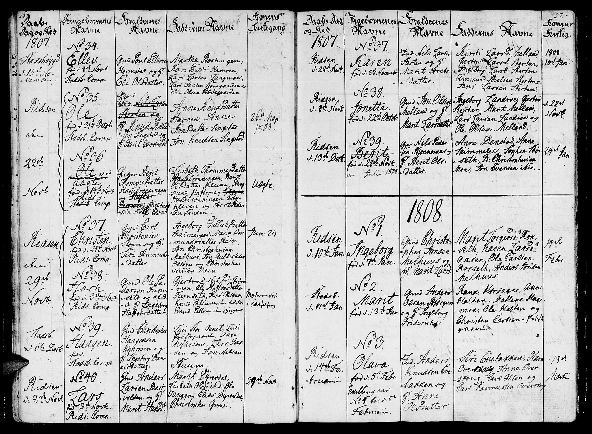 SAT, Ministerialprotokoller, klokkerbøker og fødselsregistre - Sør-Trøndelag, 646/L0607: Ministerialbok nr. 646A05, 1806-1815, s. 26-27