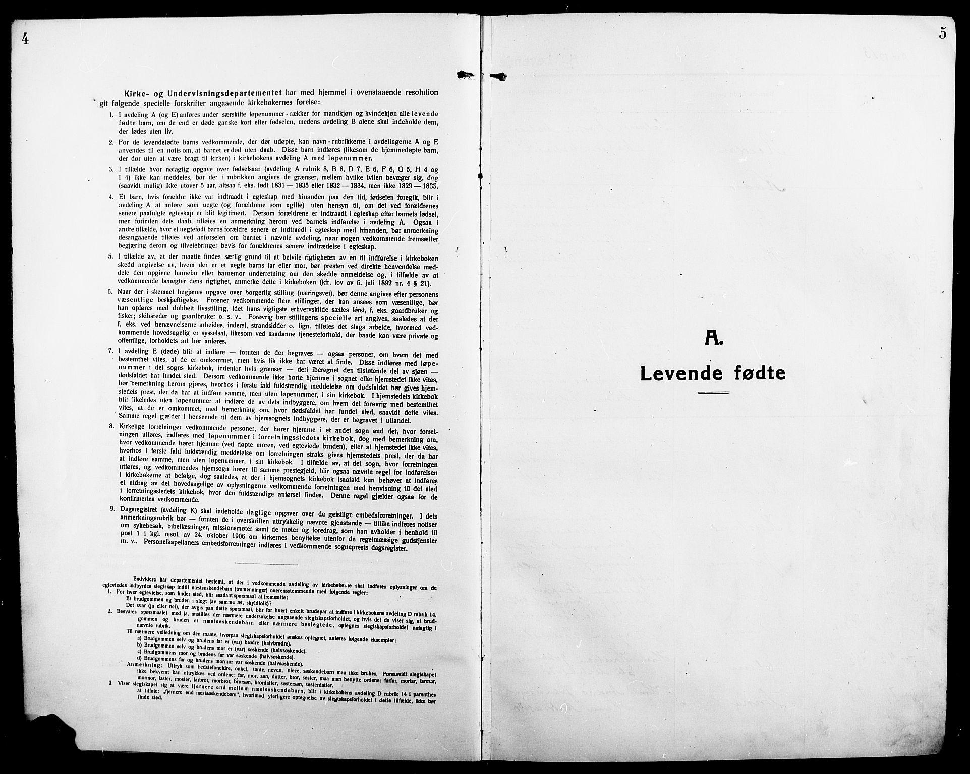 SAH, Ringsaker prestekontor, L/La/L0018: Klokkerbok nr. 18, 1913-1922, s. 4-5