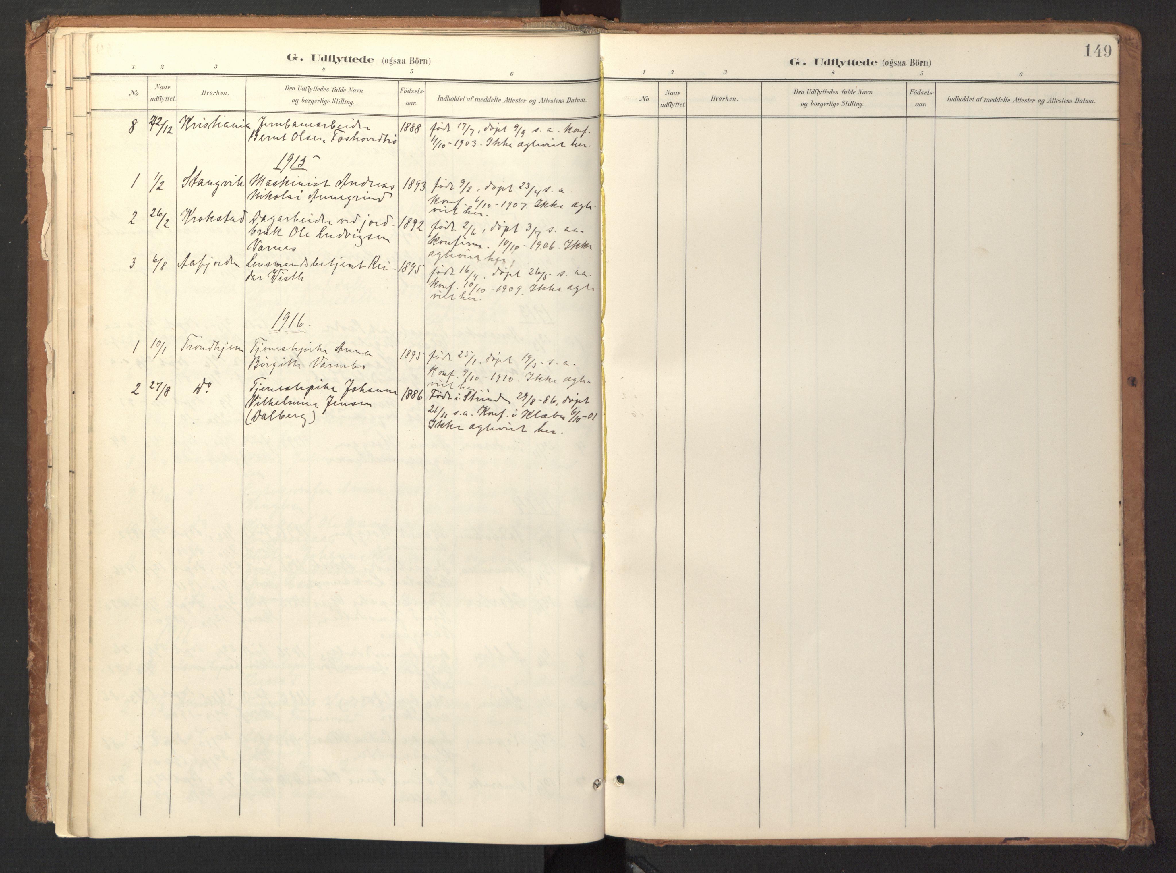 SAT, Ministerialprotokoller, klokkerbøker og fødselsregistre - Sør-Trøndelag, 618/L0448: Ministerialbok nr. 618A11, 1898-1916, s. 149