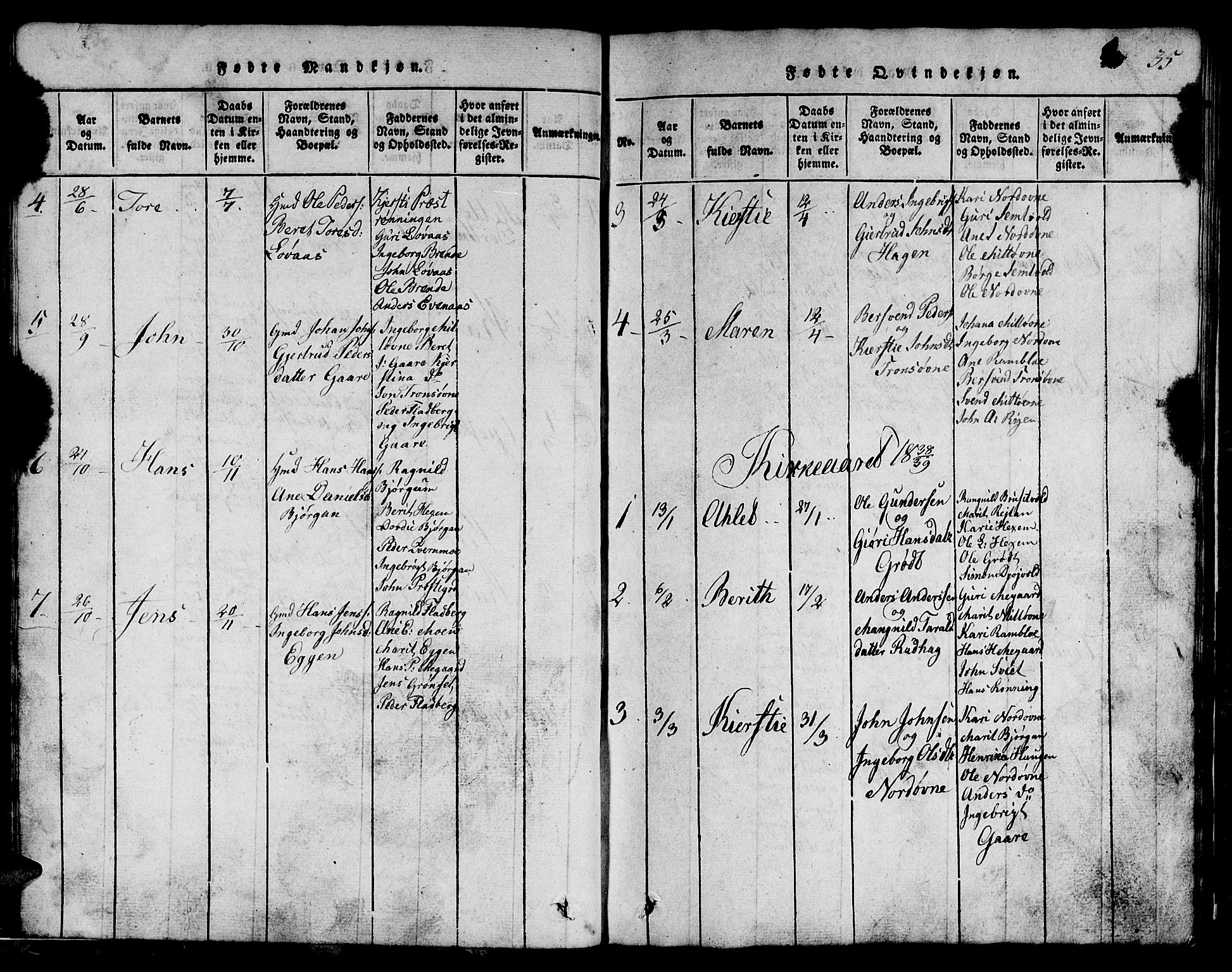 SAT, Ministerialprotokoller, klokkerbøker og fødselsregistre - Sør-Trøndelag, 685/L0976: Klokkerbok nr. 685C01, 1817-1878, s. 35