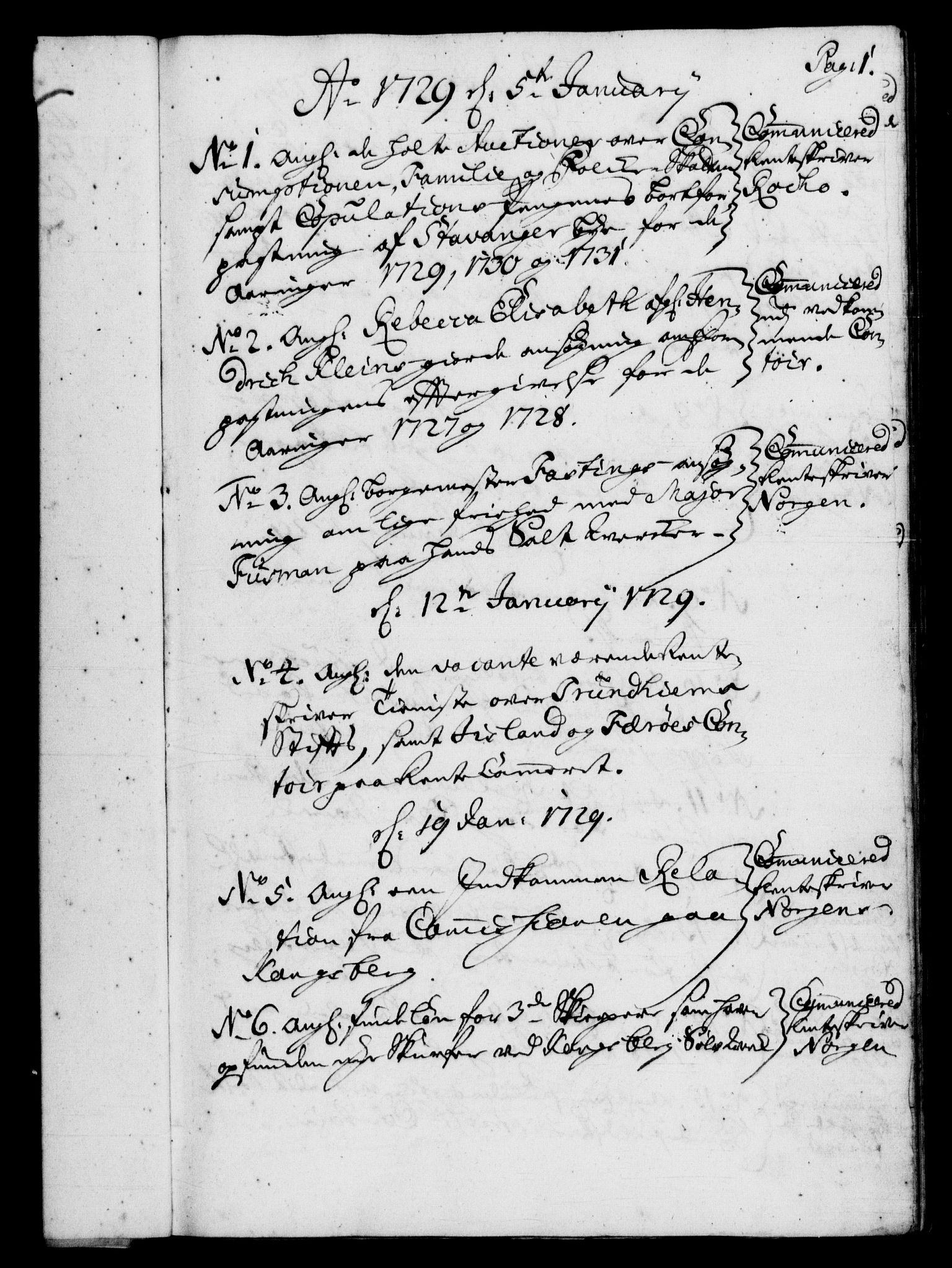 RA, Rentekammeret, Kammerkanselliet, G/Gf/Gfb/L0003: Register til norske relasjons- og resolusjonsprotokoller (merket RK 52.98), 1729-1736, s. 1