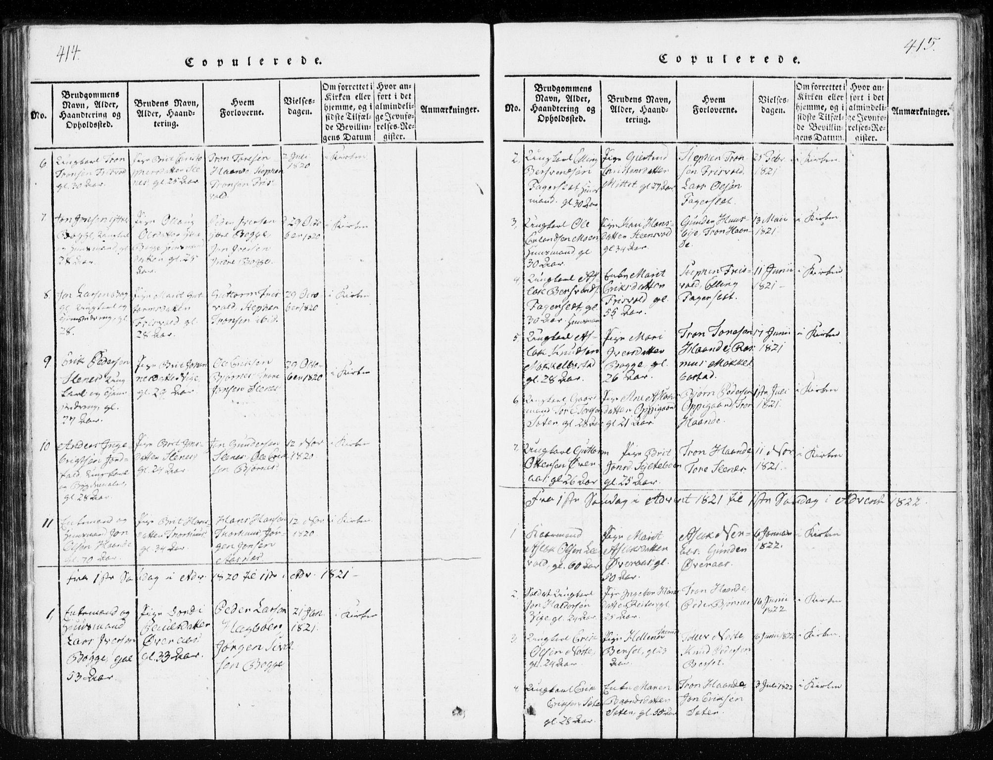 SAT, Ministerialprotokoller, klokkerbøker og fødselsregistre - Møre og Romsdal, 551/L0623: Ministerialbok nr. 551A03, 1818-1831, s. 414-415