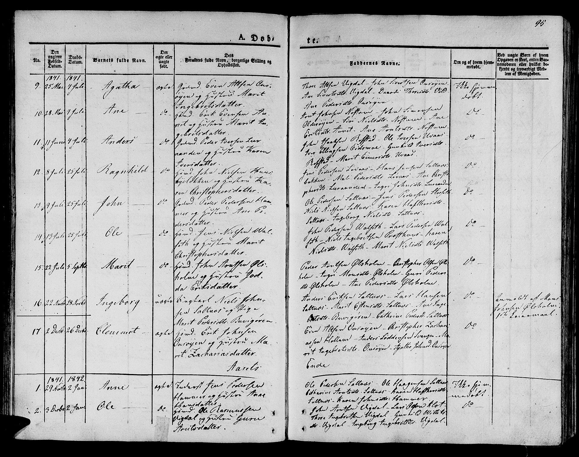 SAT, Ministerialprotokoller, klokkerbøker og fødselsregistre - Sør-Trøndelag, 612/L0375: Ministerialbok nr. 612A07 /2, 1829-1845, s. 95