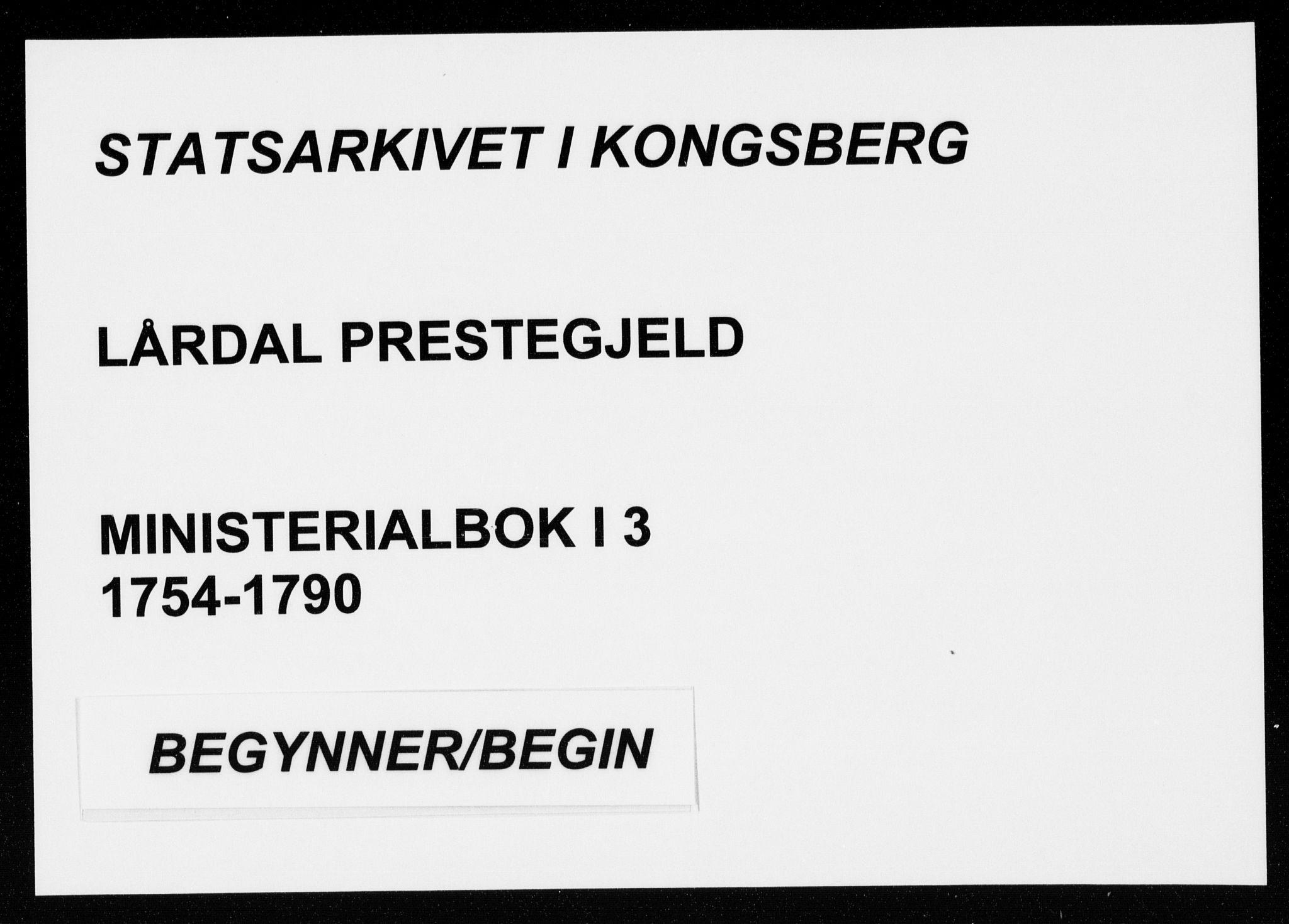 SAKO, Lårdal kirkebøker, F/Fa/L0003: Ministerialbok nr. I 3, 1754-1790
