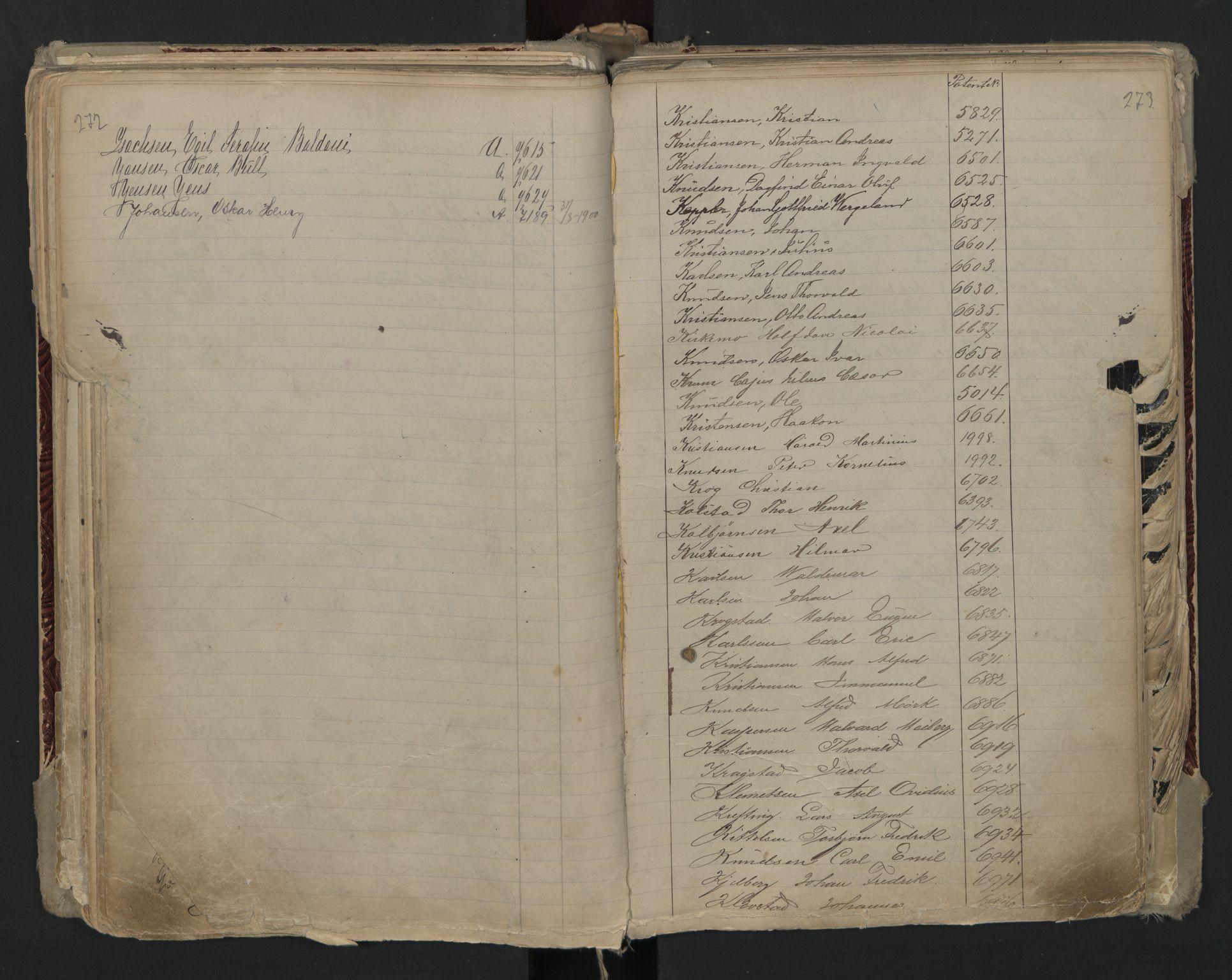 SAO, Oslo sjømannskontor, F/Fa/L0002: Register for Kristiania krets, 1866-1930, s. 272-273