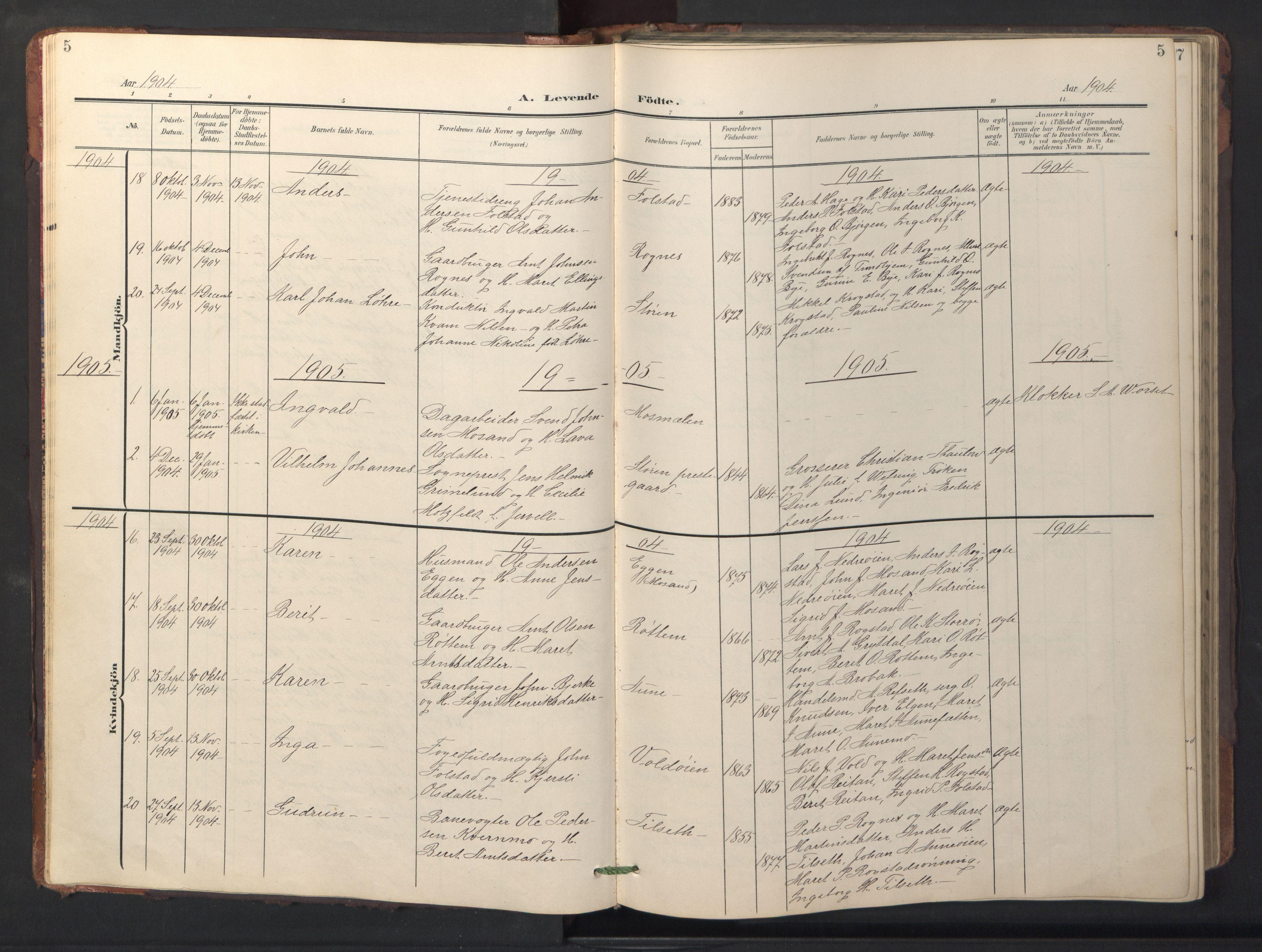 SAT, Ministerialprotokoller, klokkerbøker og fødselsregistre - Sør-Trøndelag, 687/L1019: Klokkerbok nr. 687C03, 1904-1931, s. 5