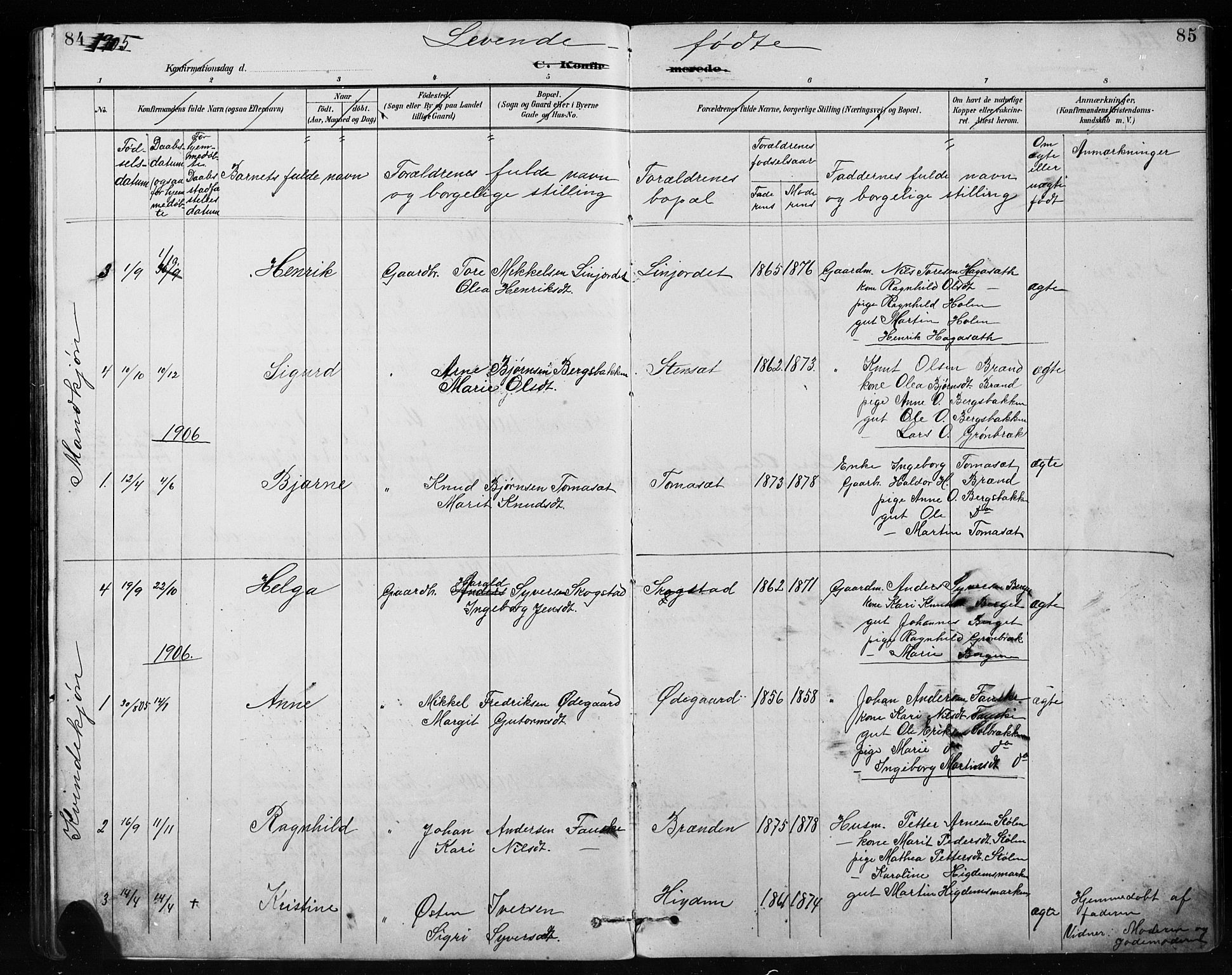 SAH, Etnedal prestekontor, H/Ha/Hab/Habb/L0001: Klokkerbok nr. II 1, 1894-1911, s. 84-85
