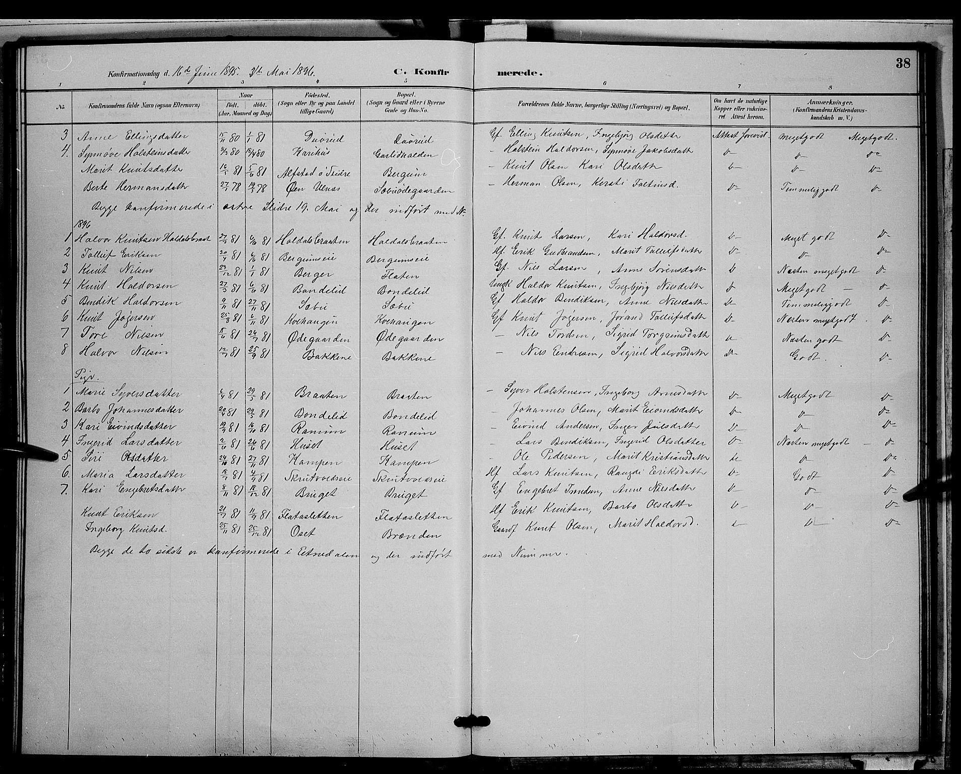 SAH, Nord-Aurdal prestekontor, Klokkerbok nr. 9, 1887-1897, s. 38
