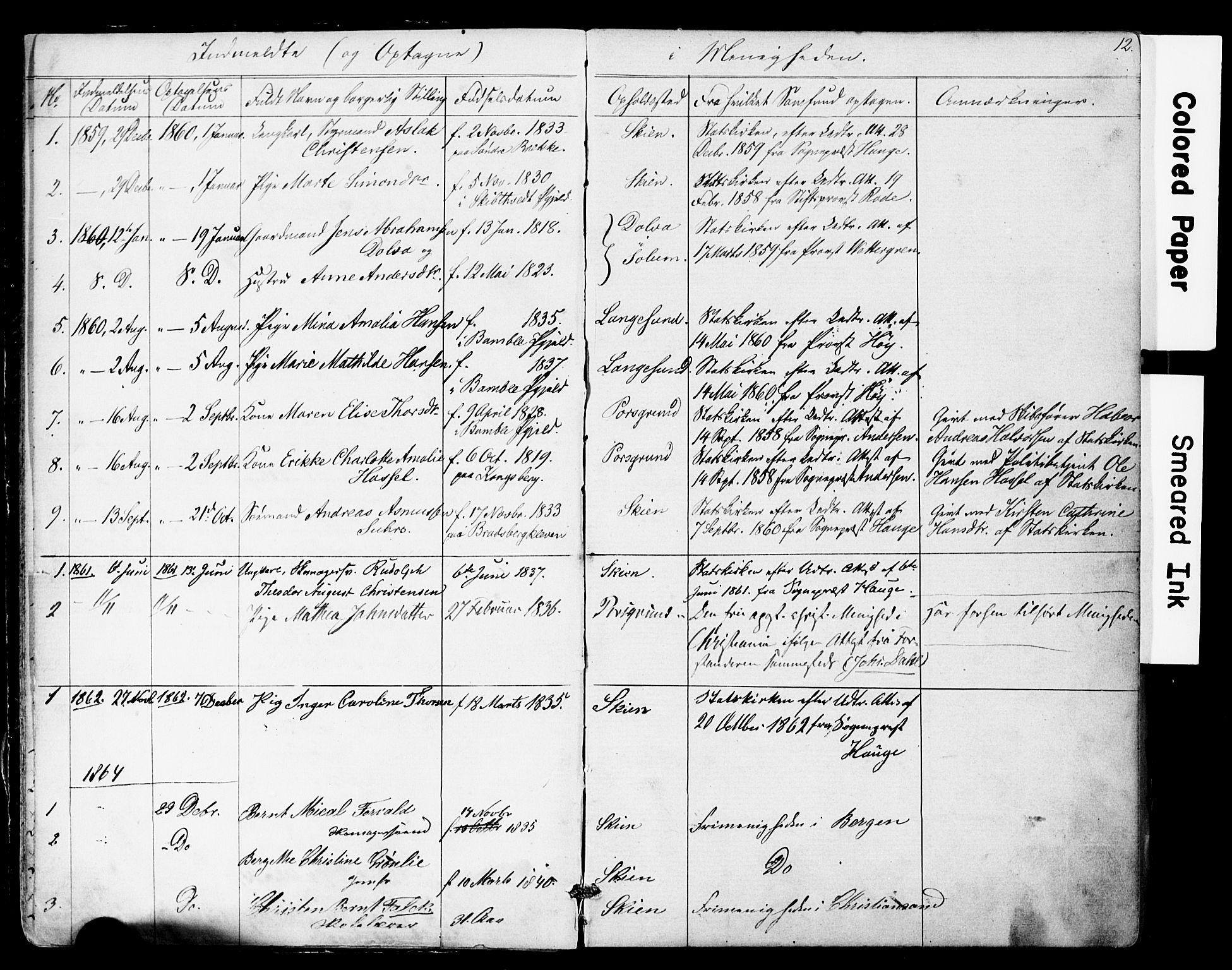 SAKO, Den frie apostolisk-kristelige menighet i Skien, F/Fa/L0001: Dissenterprotokoll nr. 1, 1856-1892, s. 12