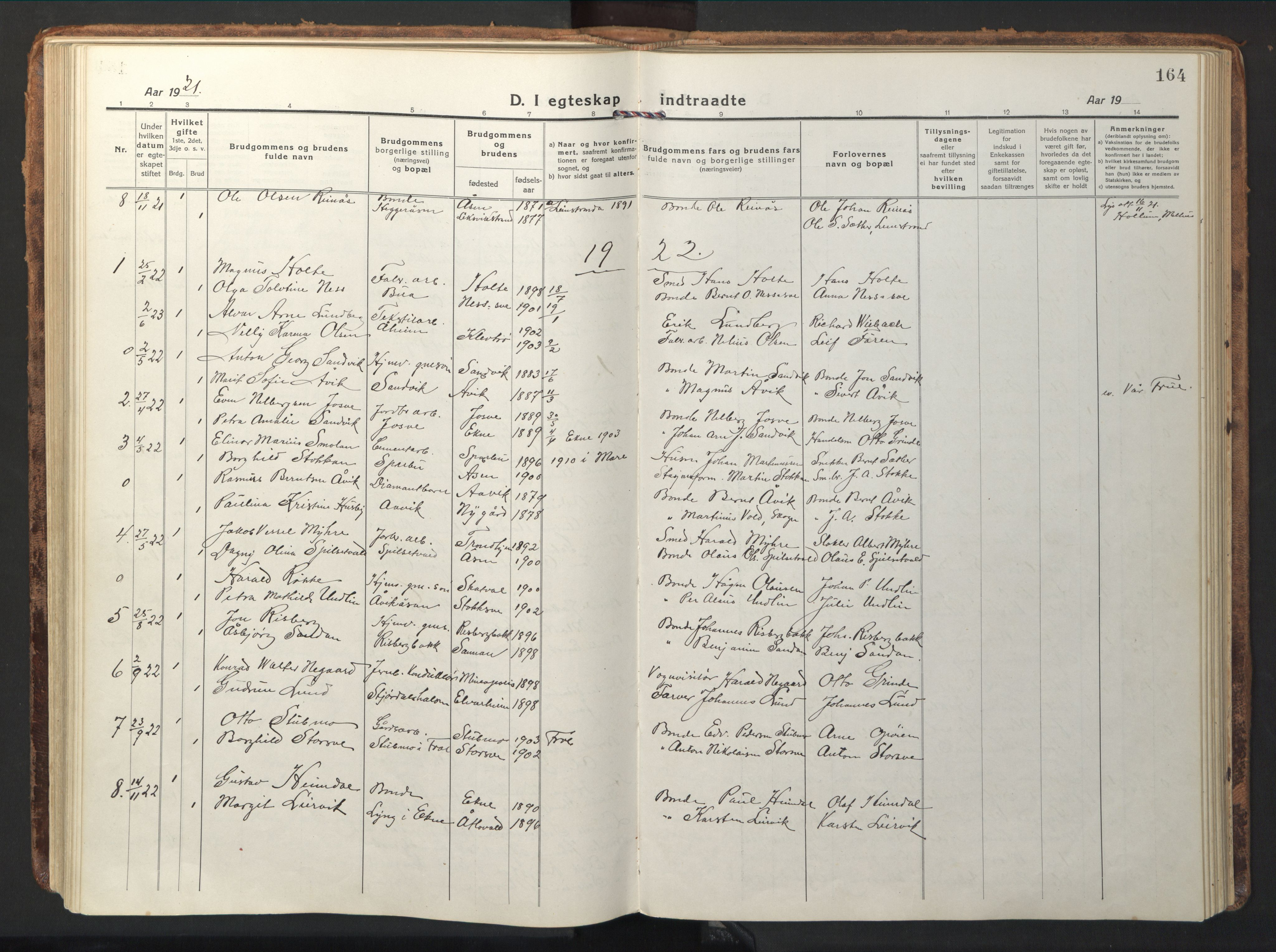 SAT, Ministerialprotokoller, klokkerbøker og fødselsregistre - Nord-Trøndelag, 714/L0136: Klokkerbok nr. 714C05, 1918-1957, s. 164