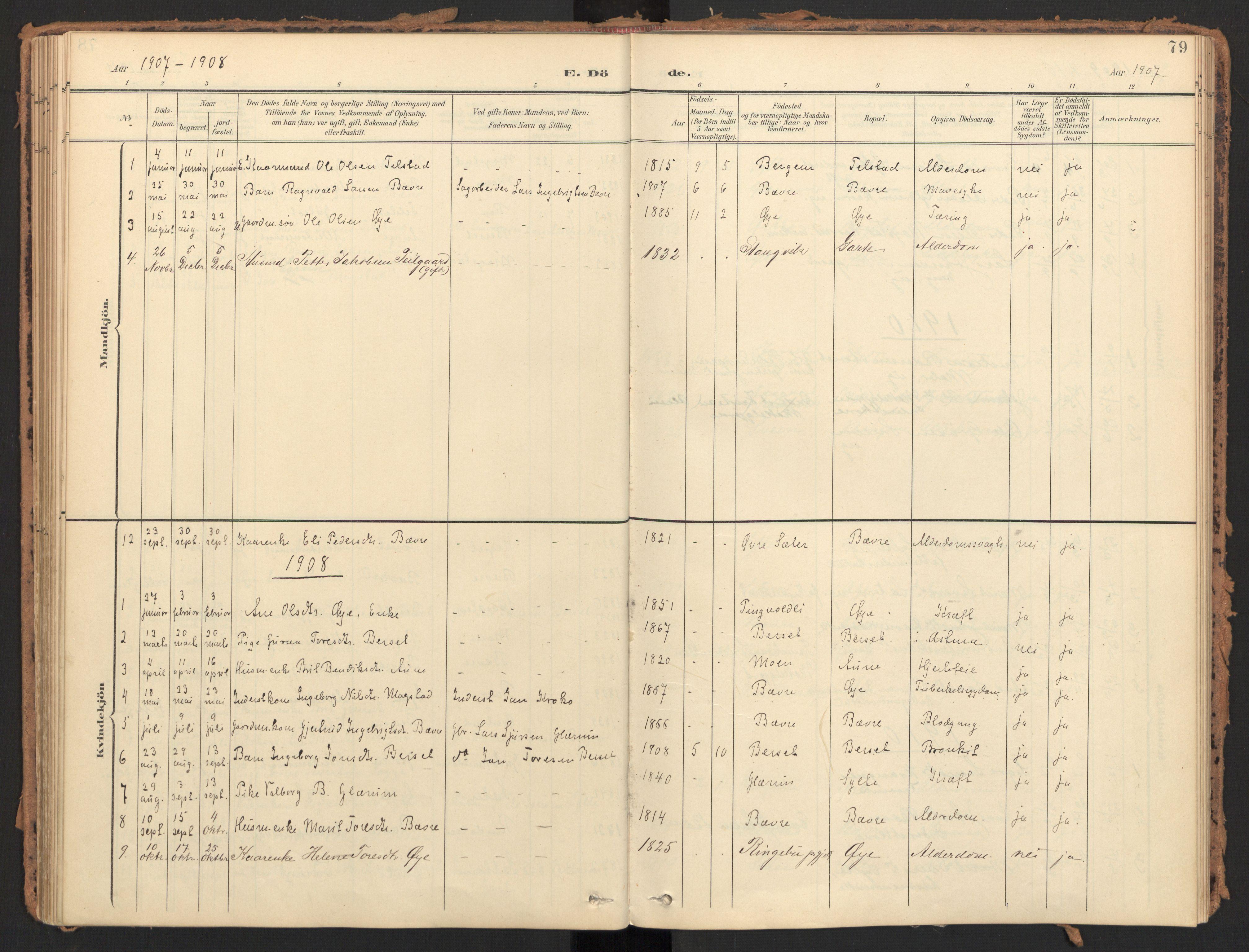 SAT, Ministerialprotokoller, klokkerbøker og fødselsregistre - Møre og Romsdal, 595/L1048: Ministerialbok nr. 595A10, 1900-1917, s. 79