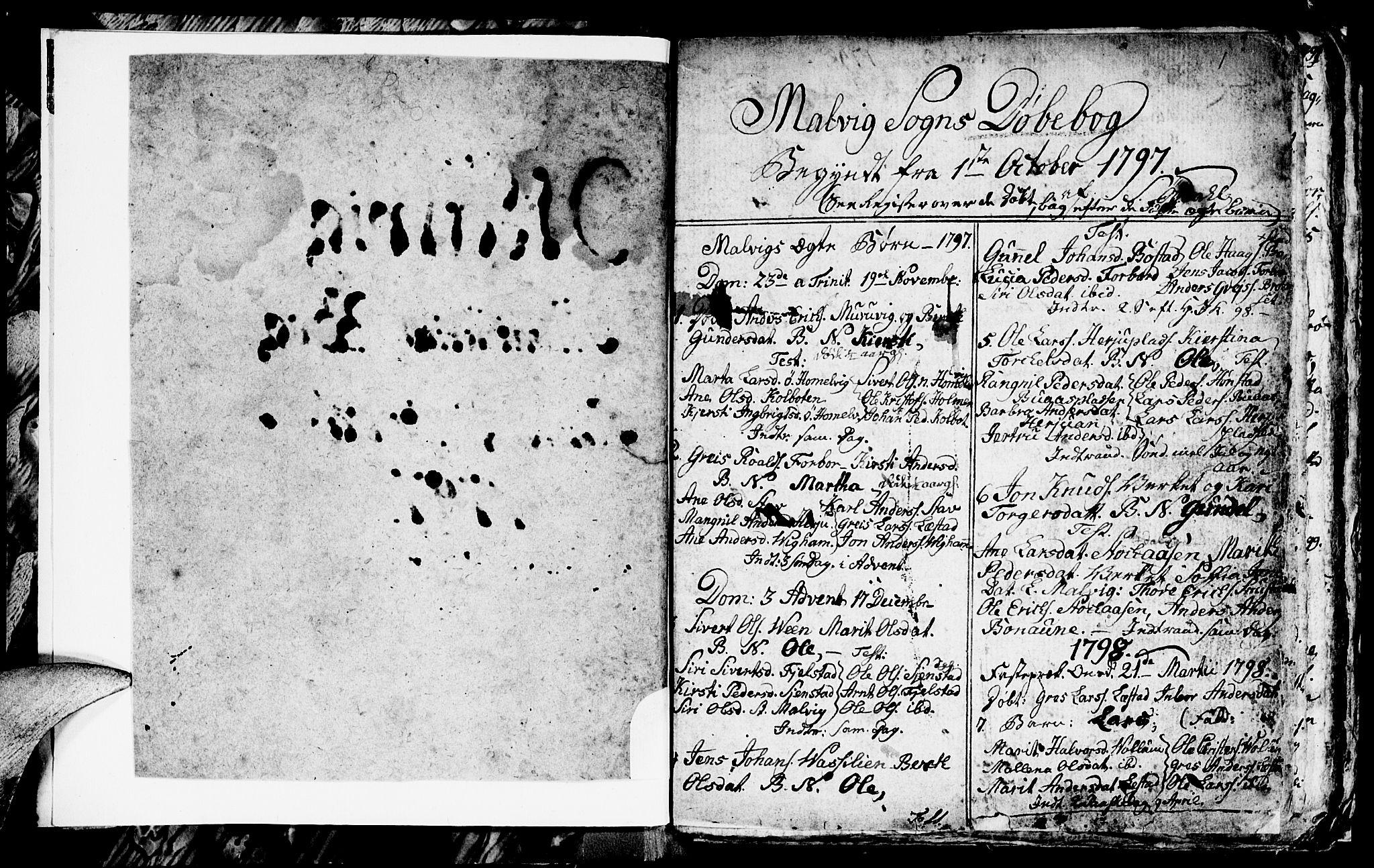 SAT, Ministerialprotokoller, klokkerbøker og fødselsregistre - Sør-Trøndelag, 616/L0419: Klokkerbok nr. 616C02, 1797-1816, s. 1