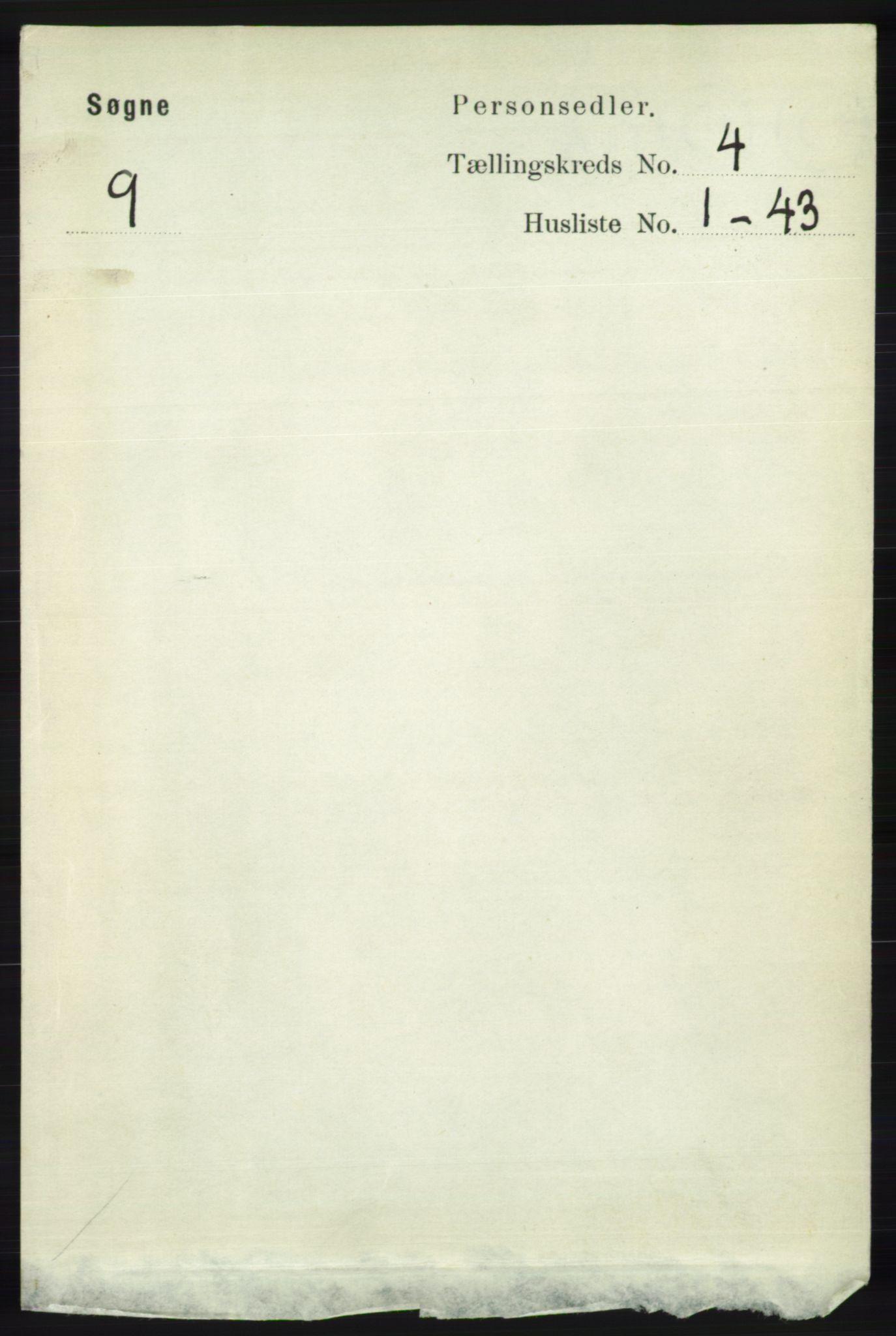 RA, Folketelling 1891 for 1018 Søgne herred, 1891, s. 629