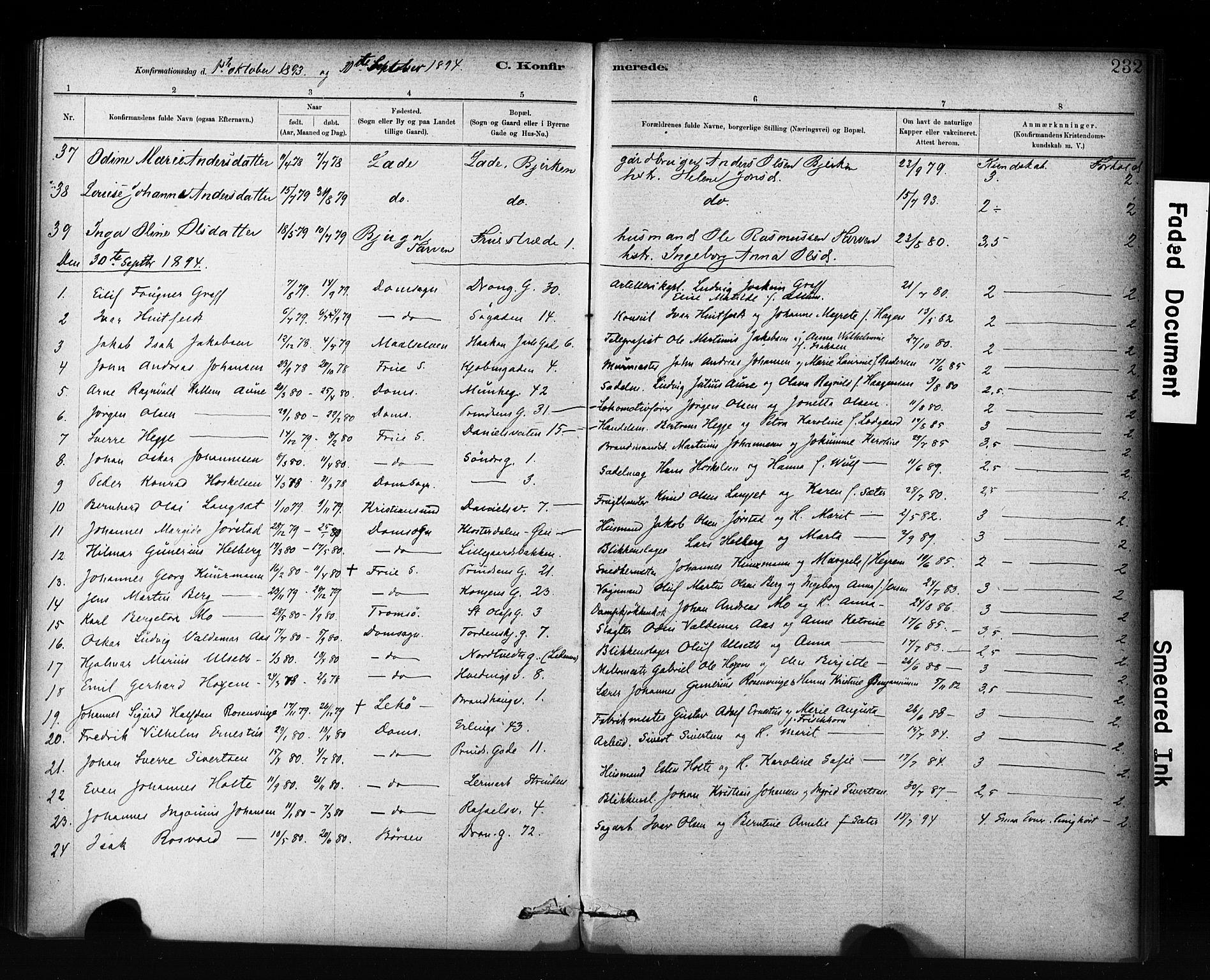 SAT, Ministerialprotokoller, klokkerbøker og fødselsregistre - Sør-Trøndelag, 601/L0071: Residerende kapellans bok nr. 601B04, 1882-1931, s. 232