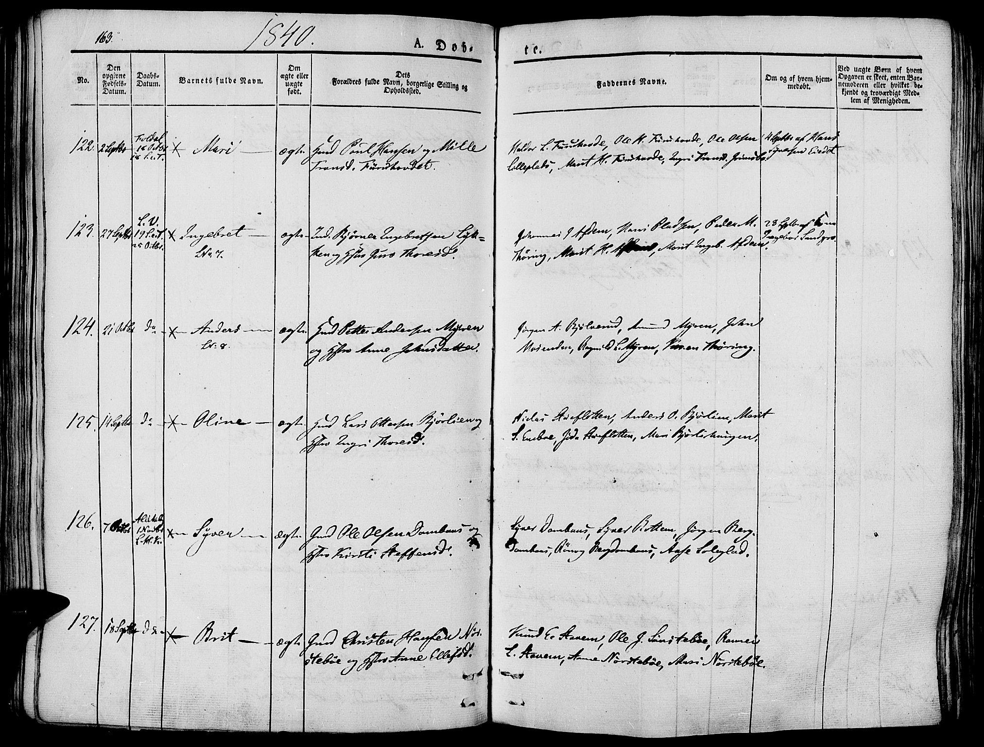 SAH, Lesja prestekontor, Ministerialbok nr. 5, 1830-1842, s. 163