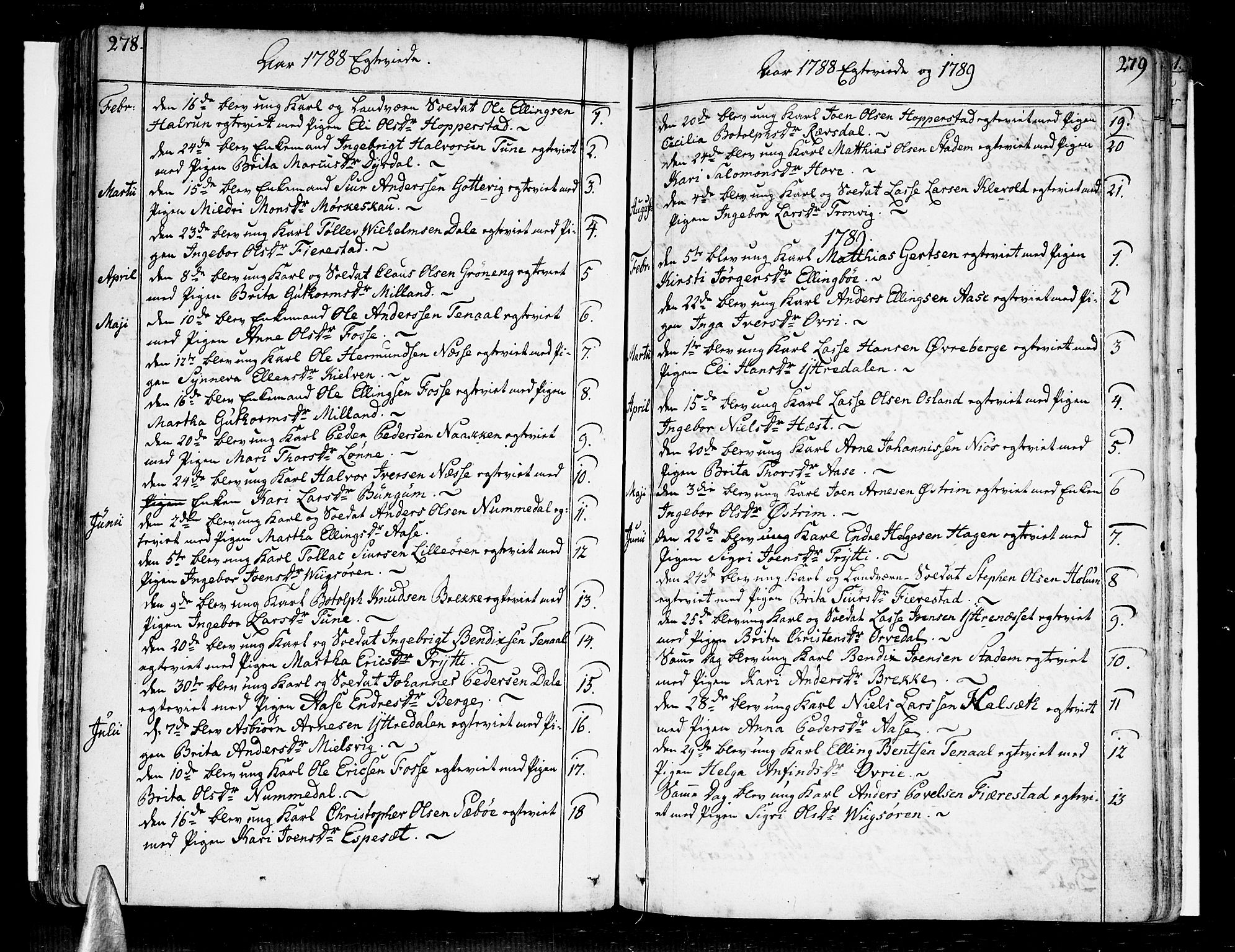 SAB, Vik Sokneprestembete, Ministerialbok nr. A 5, 1787-1820, s. 278-279