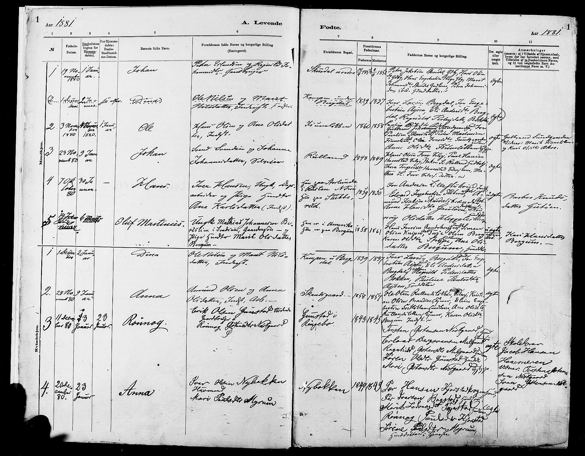 SAH, Sør-Fron prestekontor, H/Ha/Haa/L0003: Ministerialbok nr. 3, 1881-1897, s. 1