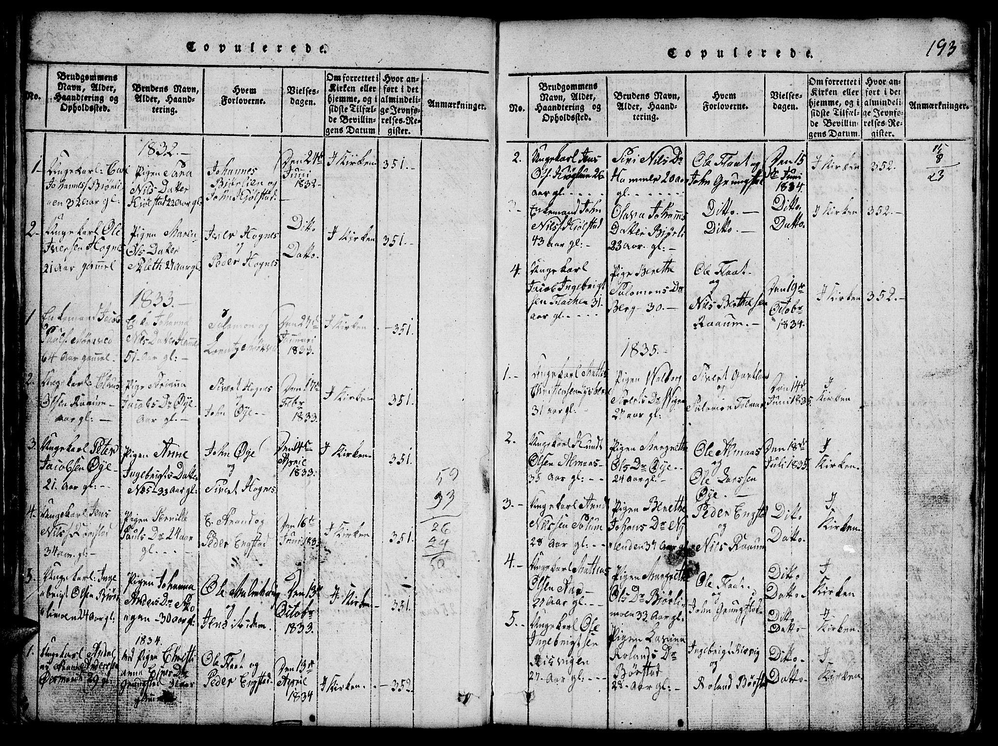 SAT, Ministerialprotokoller, klokkerbøker og fødselsregistre - Nord-Trøndelag, 765/L0562: Klokkerbok nr. 765C01, 1817-1851, s. 193