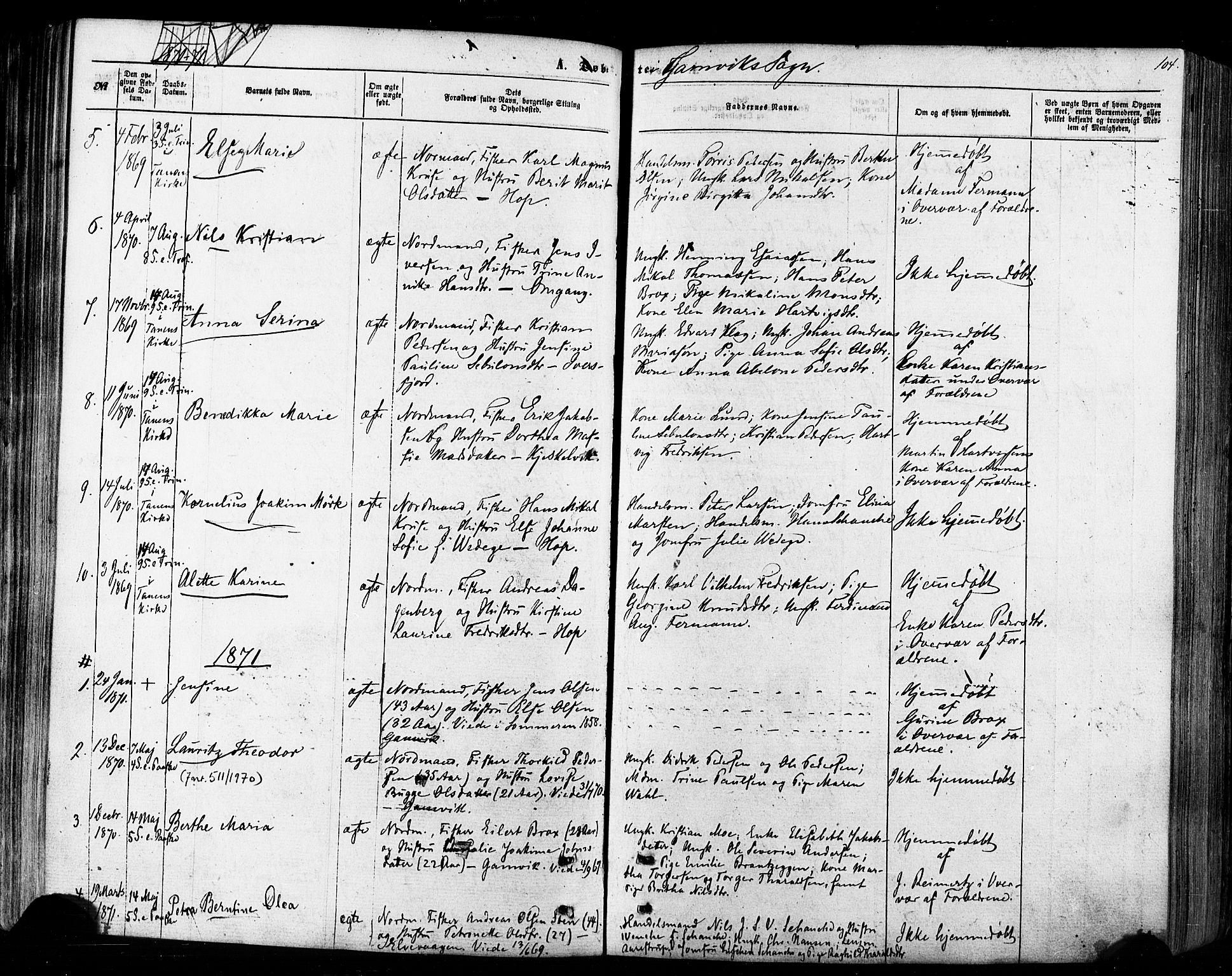 SATØ, Tana sokneprestkontor, H/Ha/L0002kirke: Ministerialbok nr. 2 /2, 1862-1877, s. 104